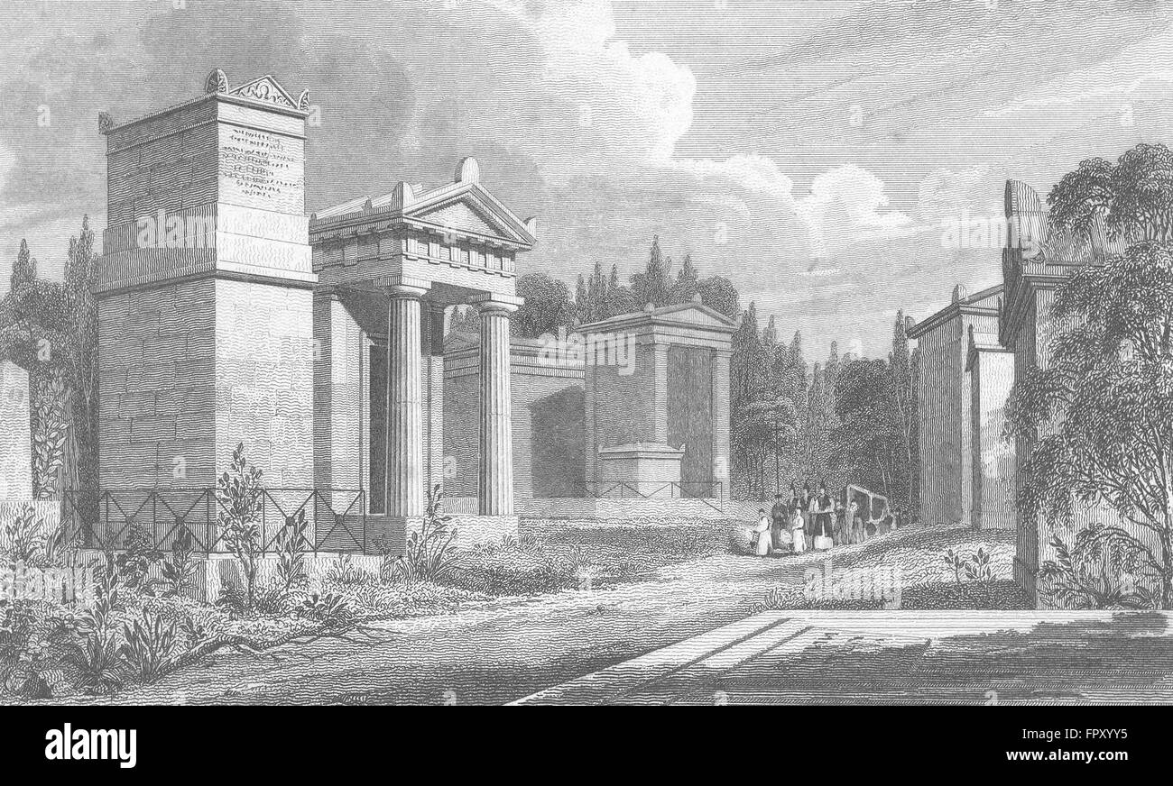 PARIS: Pere Lachaise: France: Pugin, antique print 1828 - Stock Image