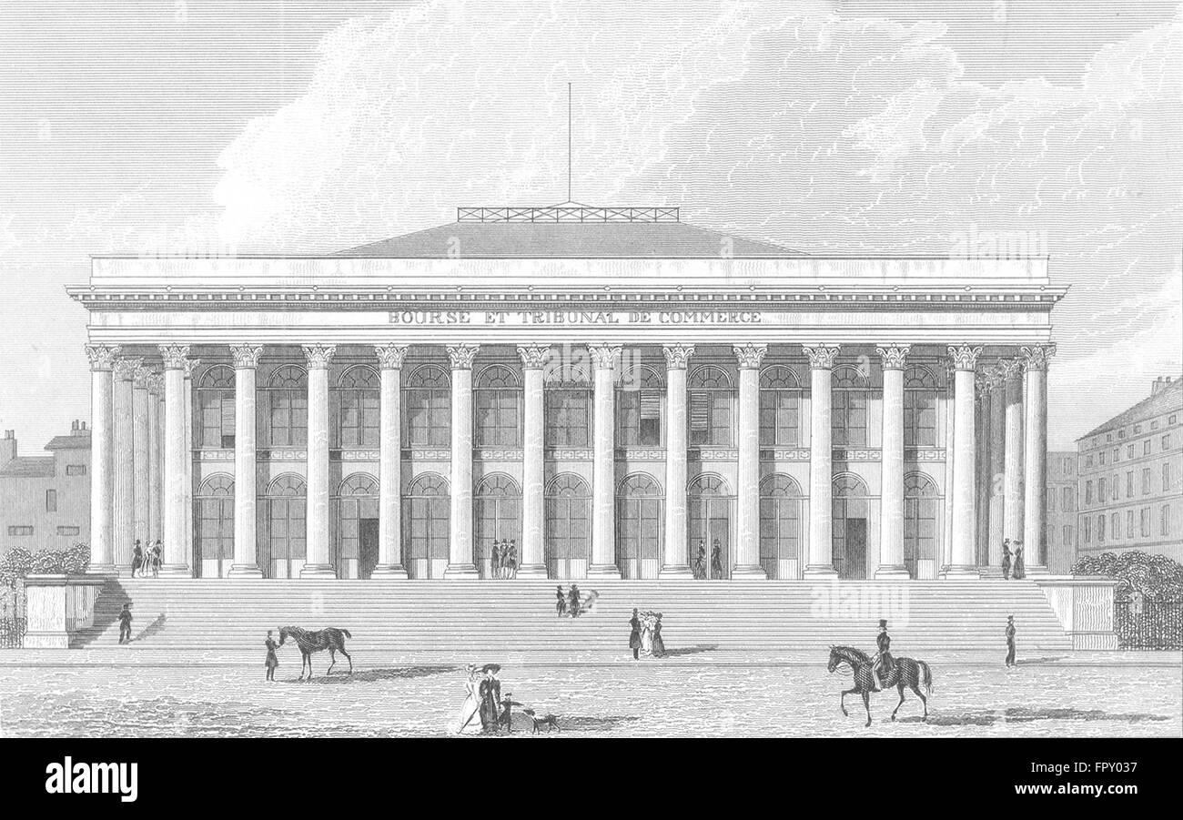 PARIS: Bourse: France: Pugin Dog Horses, antique print 1834 - Stock Image