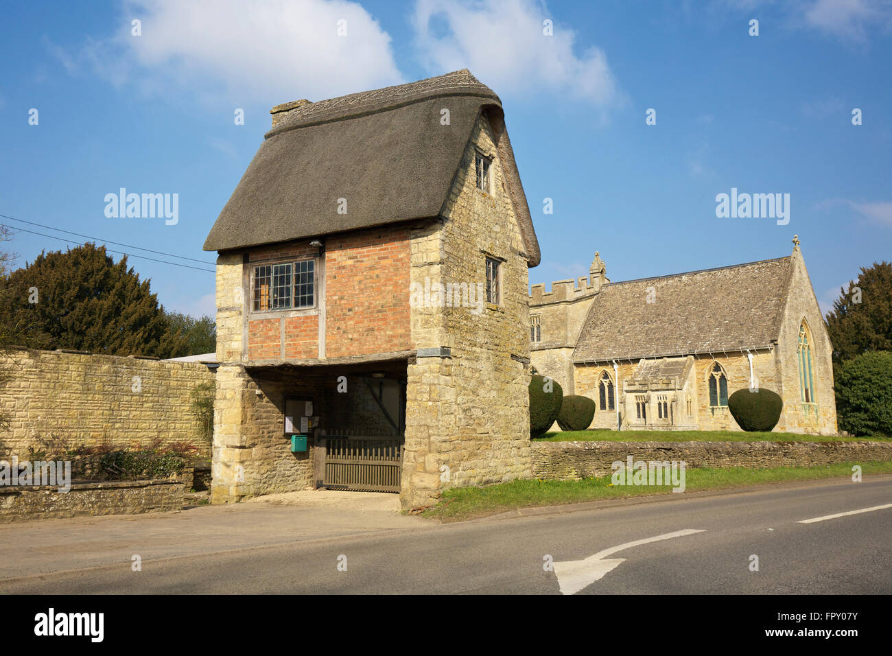 Lych Gate St Peter & St Paul Long Compton Warwickshire West Midlands England UK - Stock Image