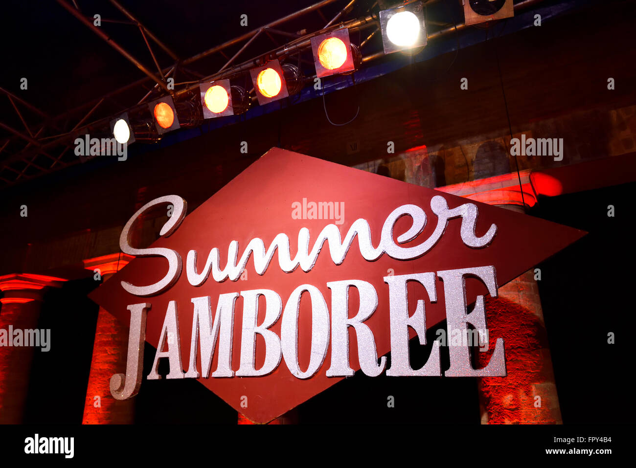 Sign, Summer Jamboree, Rock'n'Roll Festival, Senigallia, Province of Ancona, Marche, Italy - Stock Image