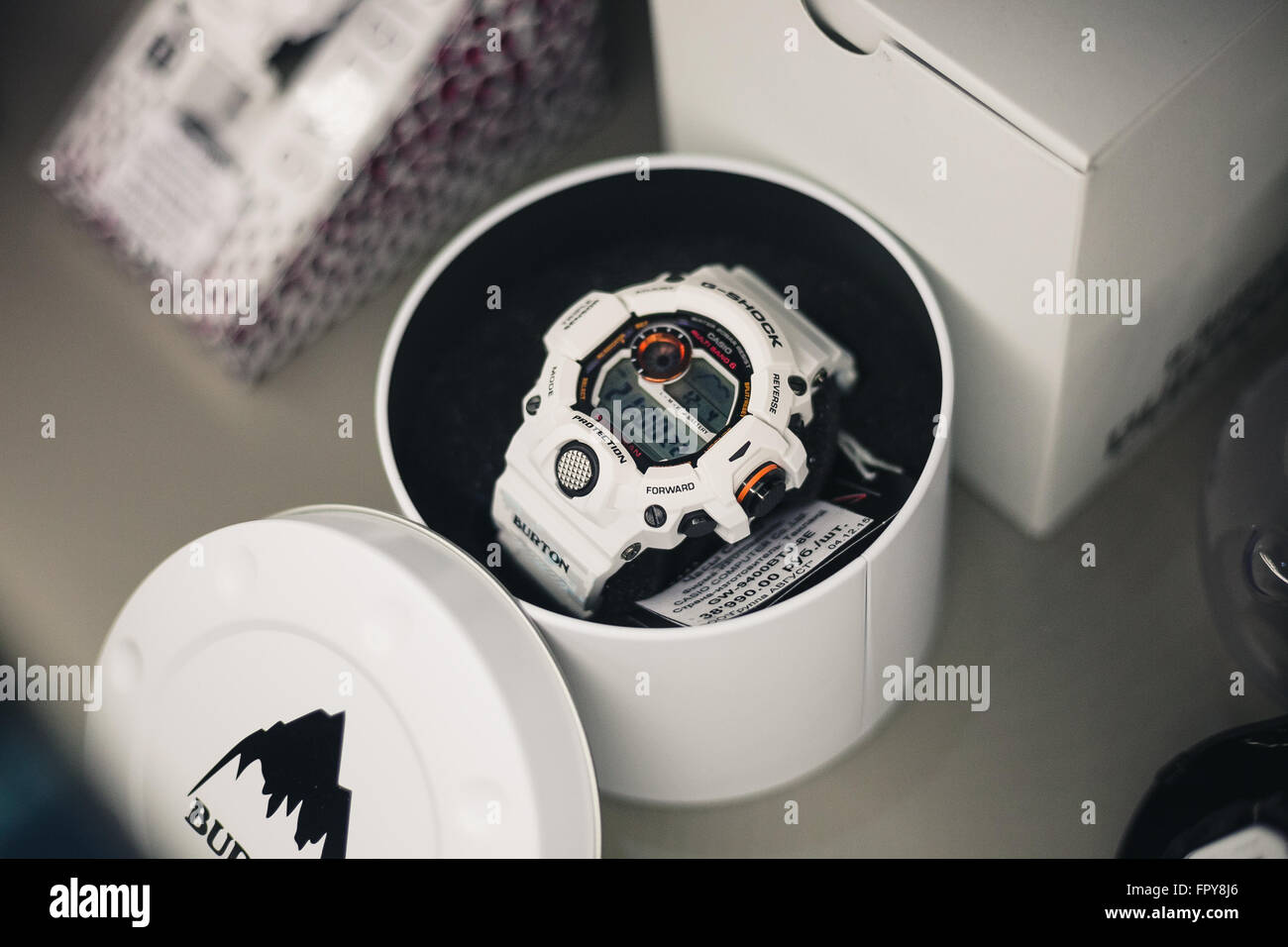 MOSCOW - 4 DECEMBER, 2015 : Presentation of collaboration between Casio G-Shock and Burton brands. Hosted by DJ - Stock Image