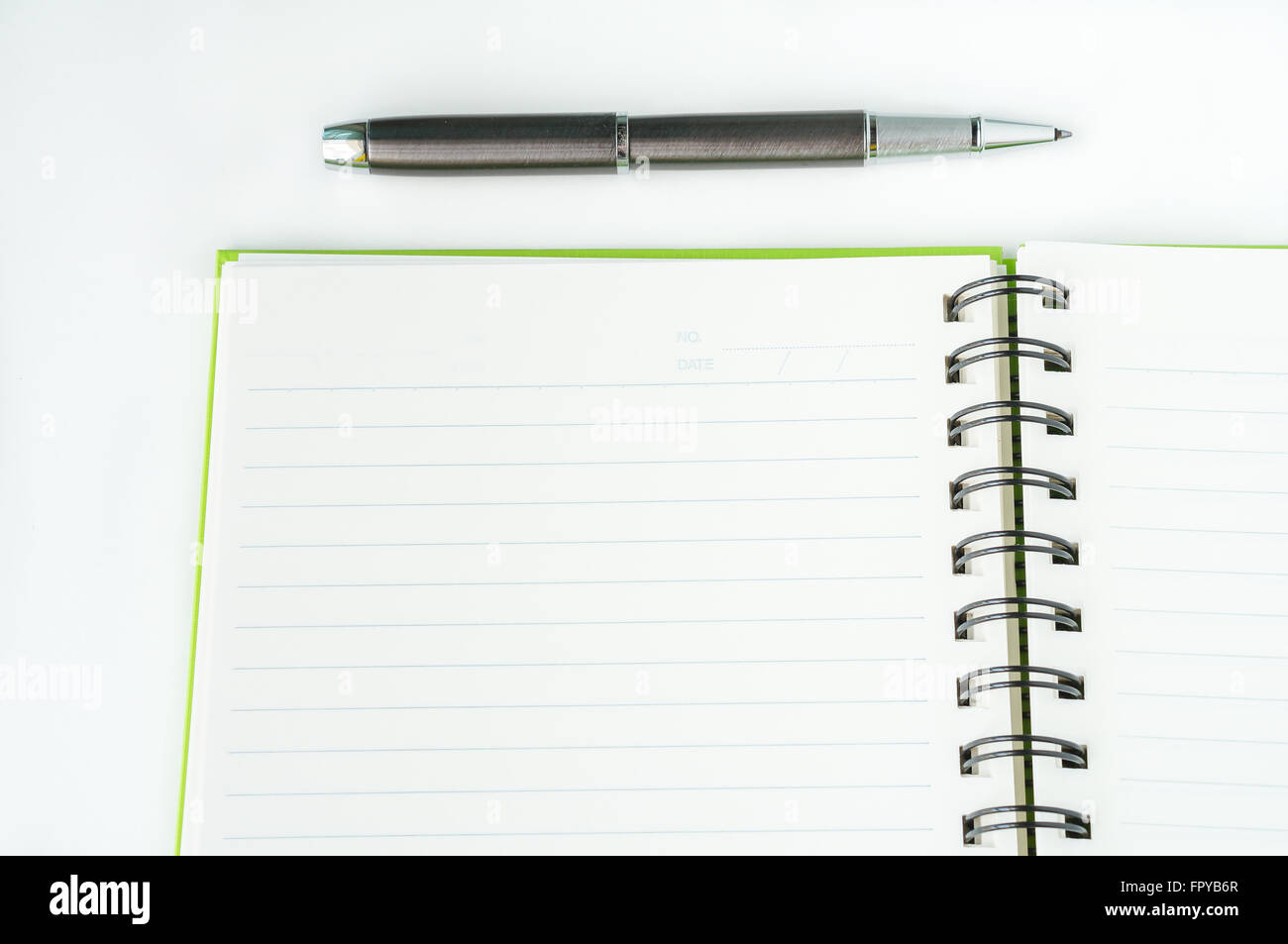 Ball Pen Stock Photos Images Alamy Ballpoint Diagram And Notepad Royalty Free Open Notebook With Metallic Top View Image