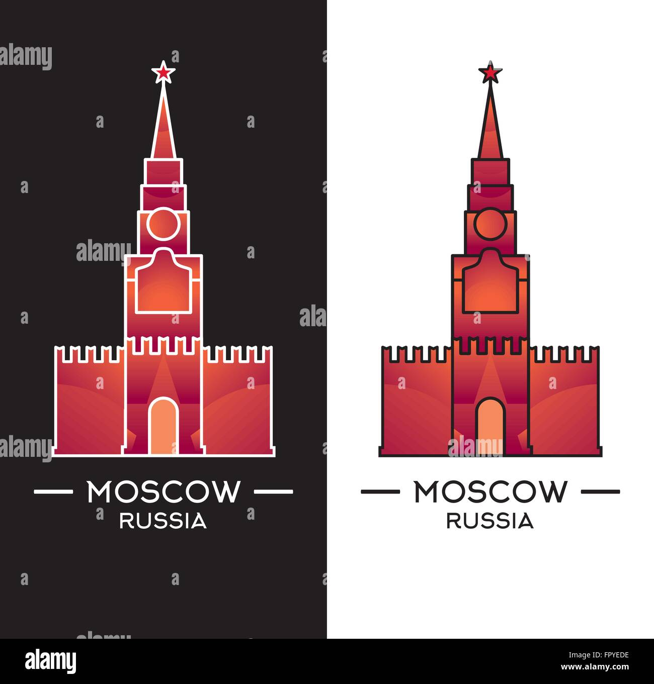 Spasskaya Tower isolated on white and black background. Vector illustration. Moscow landmark can use as logo or - Stock Vector