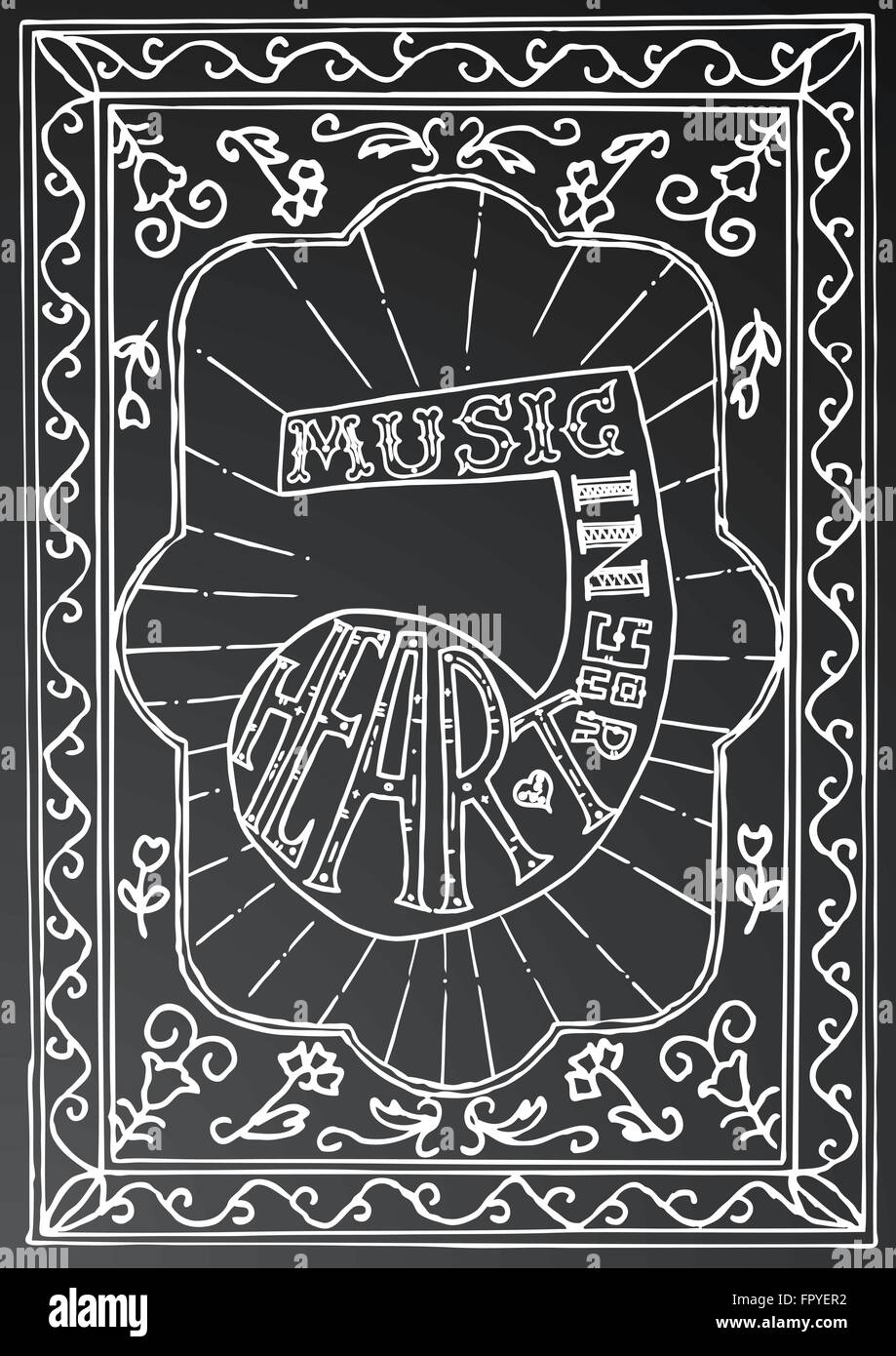 Hand Drawn Lettering Design With Music Note And Frame On Black Chalk Board Typography Concept For T Shirt
