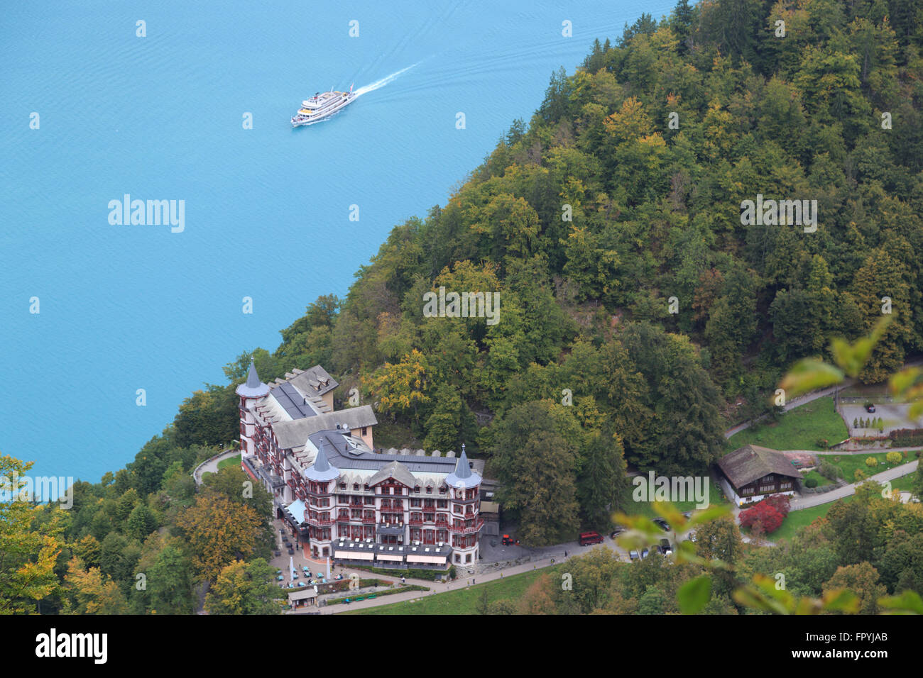 A photograph of a passenger ferry on Lake Brienz in Switzerland. Stock Photo