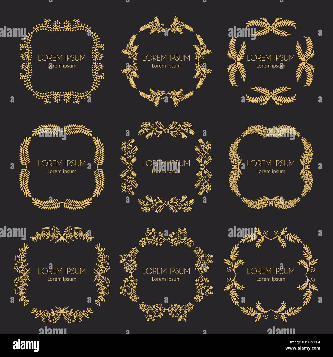 Set of vintage hand made logotypes and labels. Stock Vector