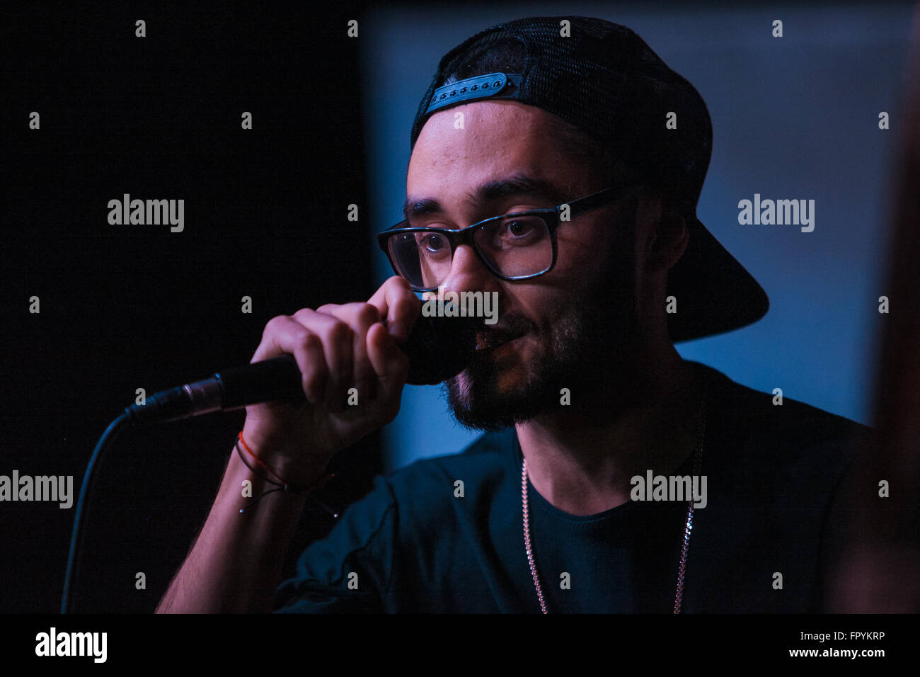 MOSCOW - 1 NOVEMBER, 2015 : Presentation of Russian hip-hop magazine Rhyme Magazine. Guests include famous singers - Stock Image
