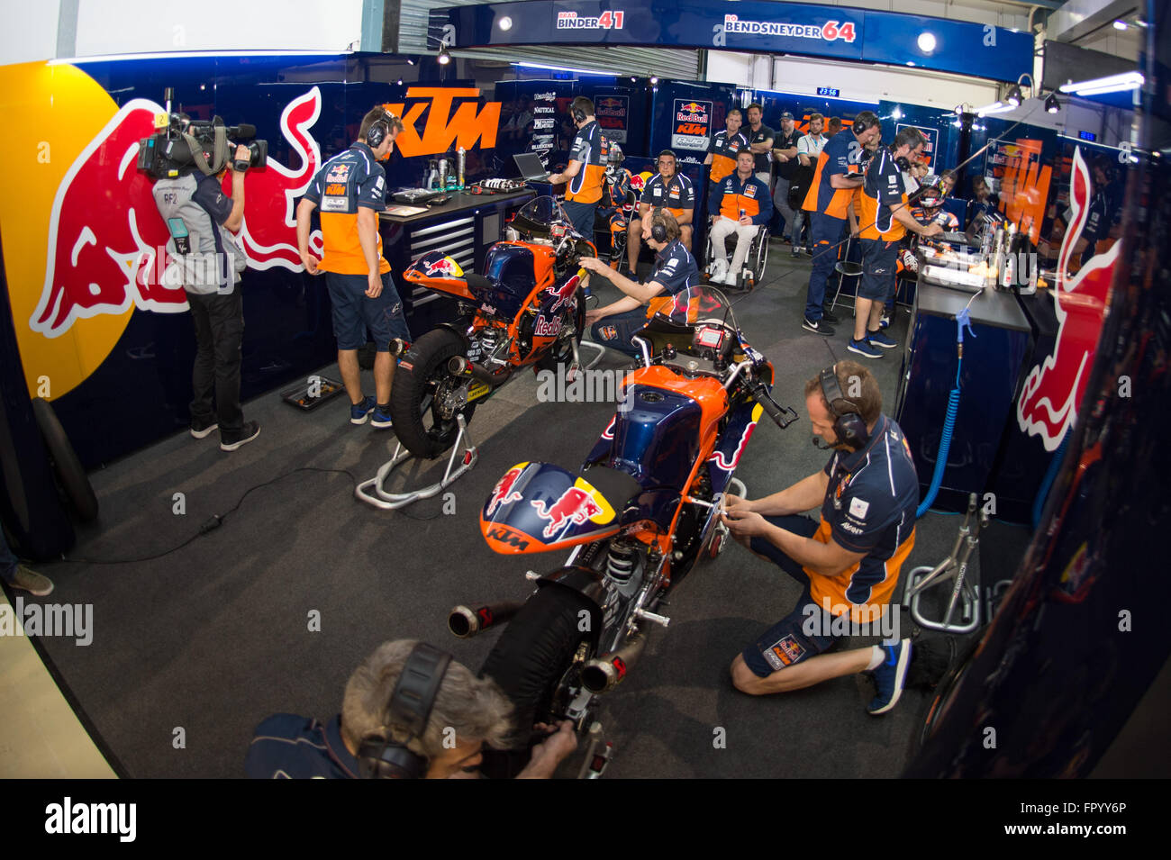 Losail International Circuit, Qatar.  19th March 2016.  KTM AJO garage during qualifying for the Moto3 race at the - Stock Image