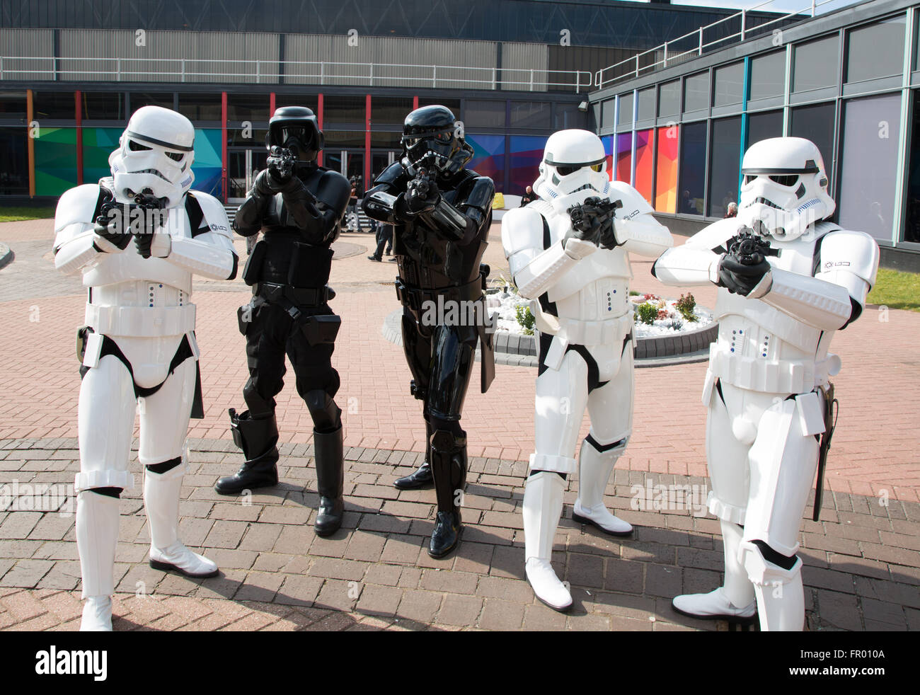 People dressed as various stormtroopers from Star Wars at Comic Con Credit:  steven roe/Alamy Live News - Stock Image