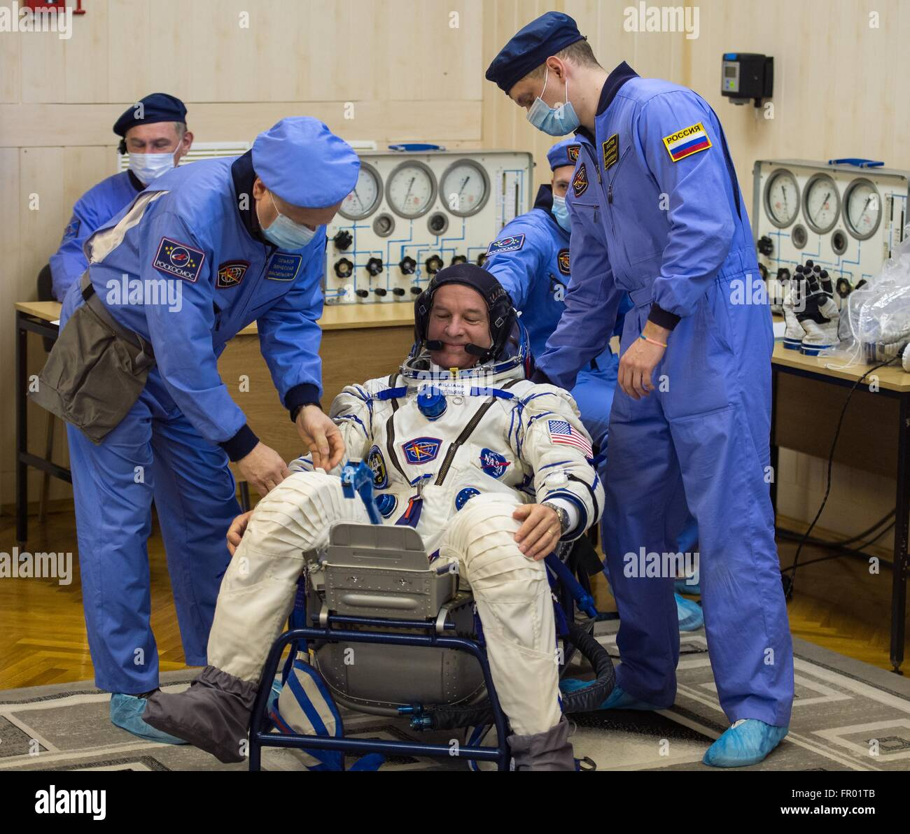 Baikonur, Kazakhstan. 19th Mar, 2016. American astronaut Jeff Williams during final pressure checks on his Russian - Stock Image