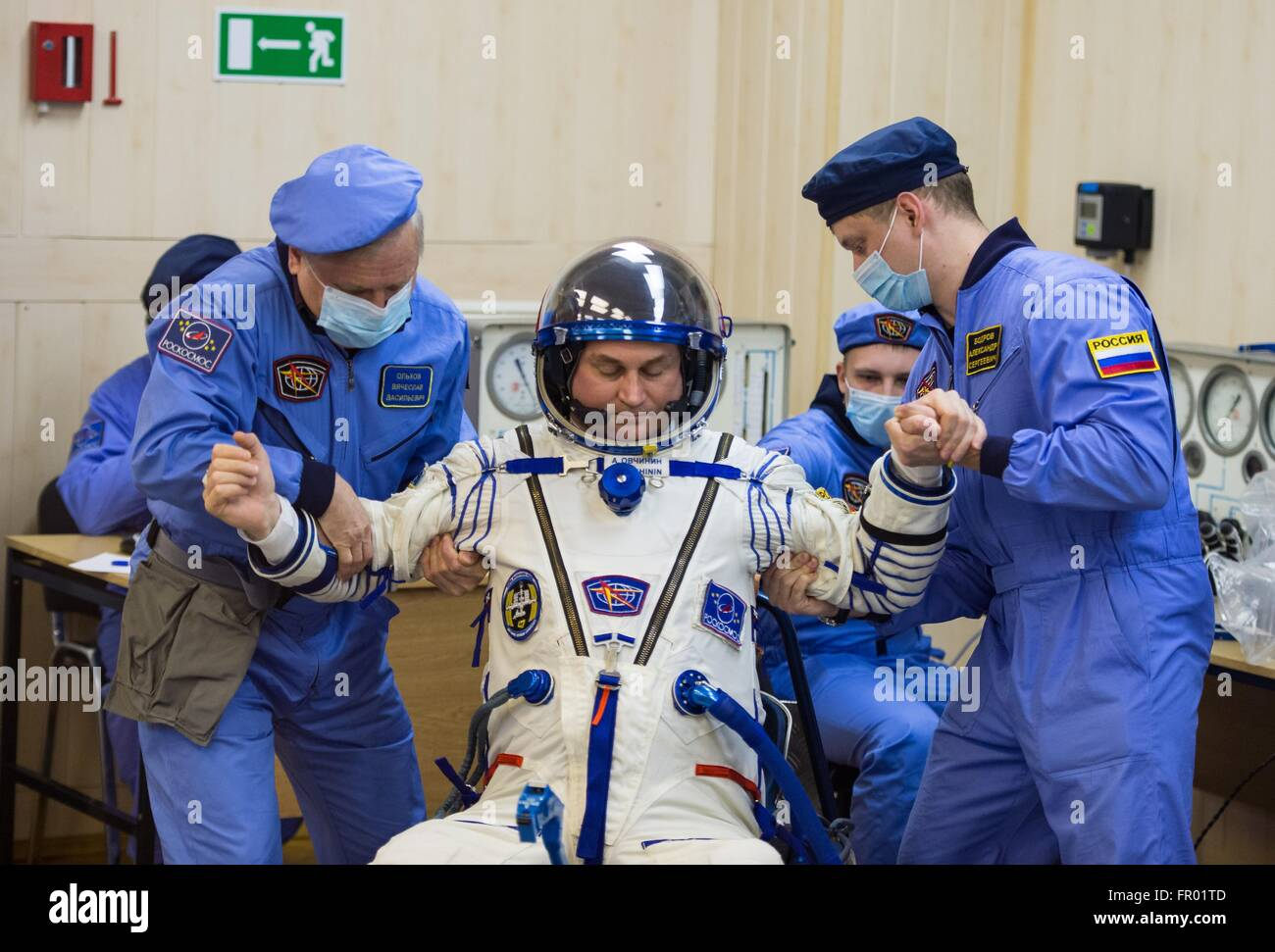 Baikonur, Kazakhstan. 19th Mar, 2016. Russian Soyuz Commander Alexey Ovchinin during final pressure checks on his - Stock Image