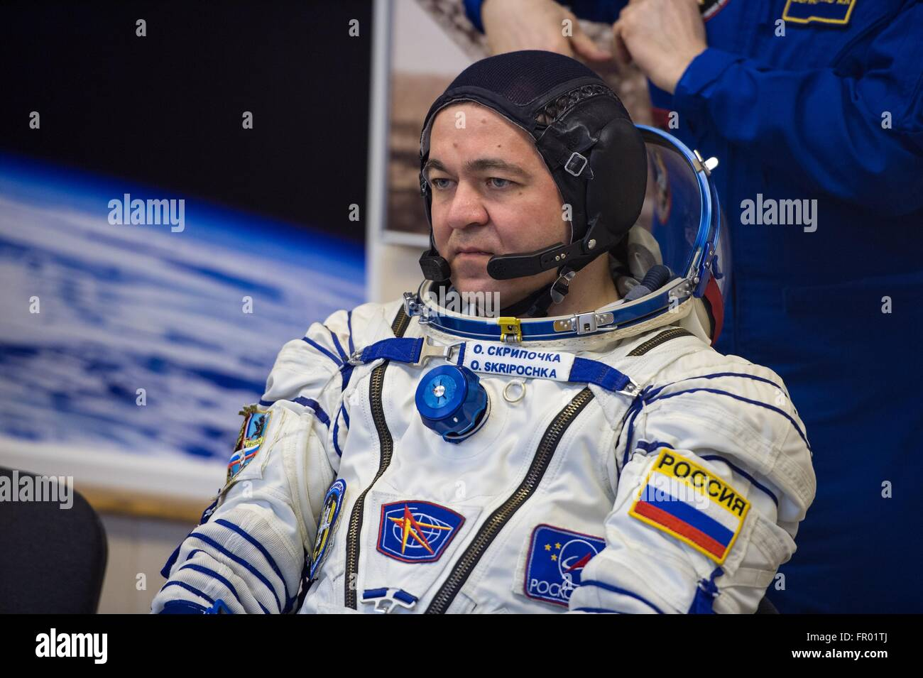 Baikonur, Kazakhstan. 19th Mar, 2016. Russian cosmonaut Oleg Skripochka during final pressure checks on his Russian Stock Photo