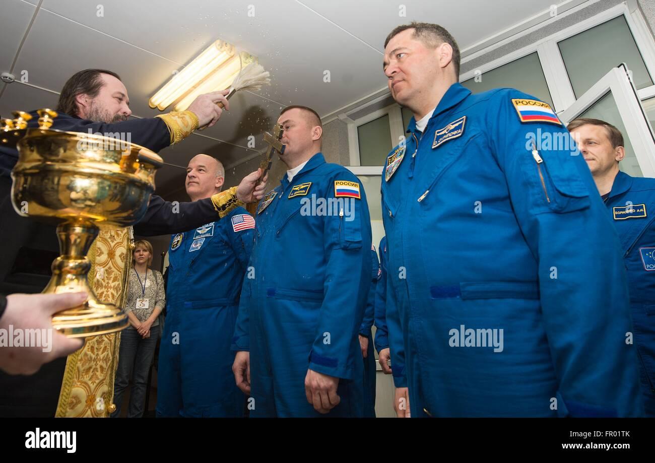 Baikonur, Kazakhstan. 19th Mar, 2016. International Space Station Expedition 47 Soyuz Commander Alexey Ovchinin, Stock Photo