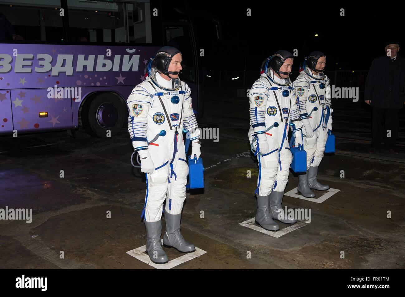Baikonur, Kazakhstan. 19th Mar, 2016. International Space Station Expedition 47 American astronaut Jeff Williams, - Stock Image