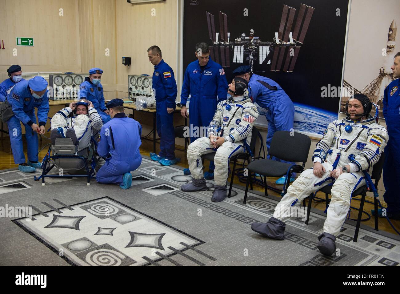 Baikonur, Kazakhstan. 19th Mar, 2016. International Space Station Expedition 47 crew members Russian cosmonaut Alexey - Stock Image