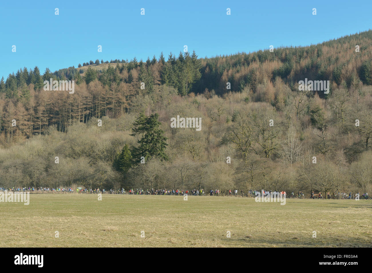 Ae Forest, Dumfries, Scotland - 20 March 2016: UK weather - downhill mountainbike competitors queue for uplift to - Stock Image