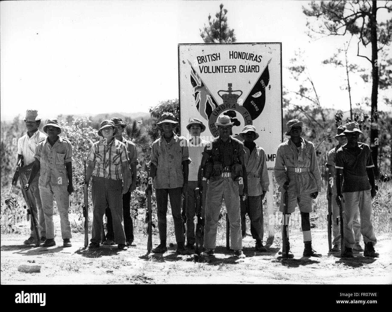 1962 - On parade - British Honduras Volunteer Guard, soon to be backed up with 4,000 British troops, aircraft and Stock Photo