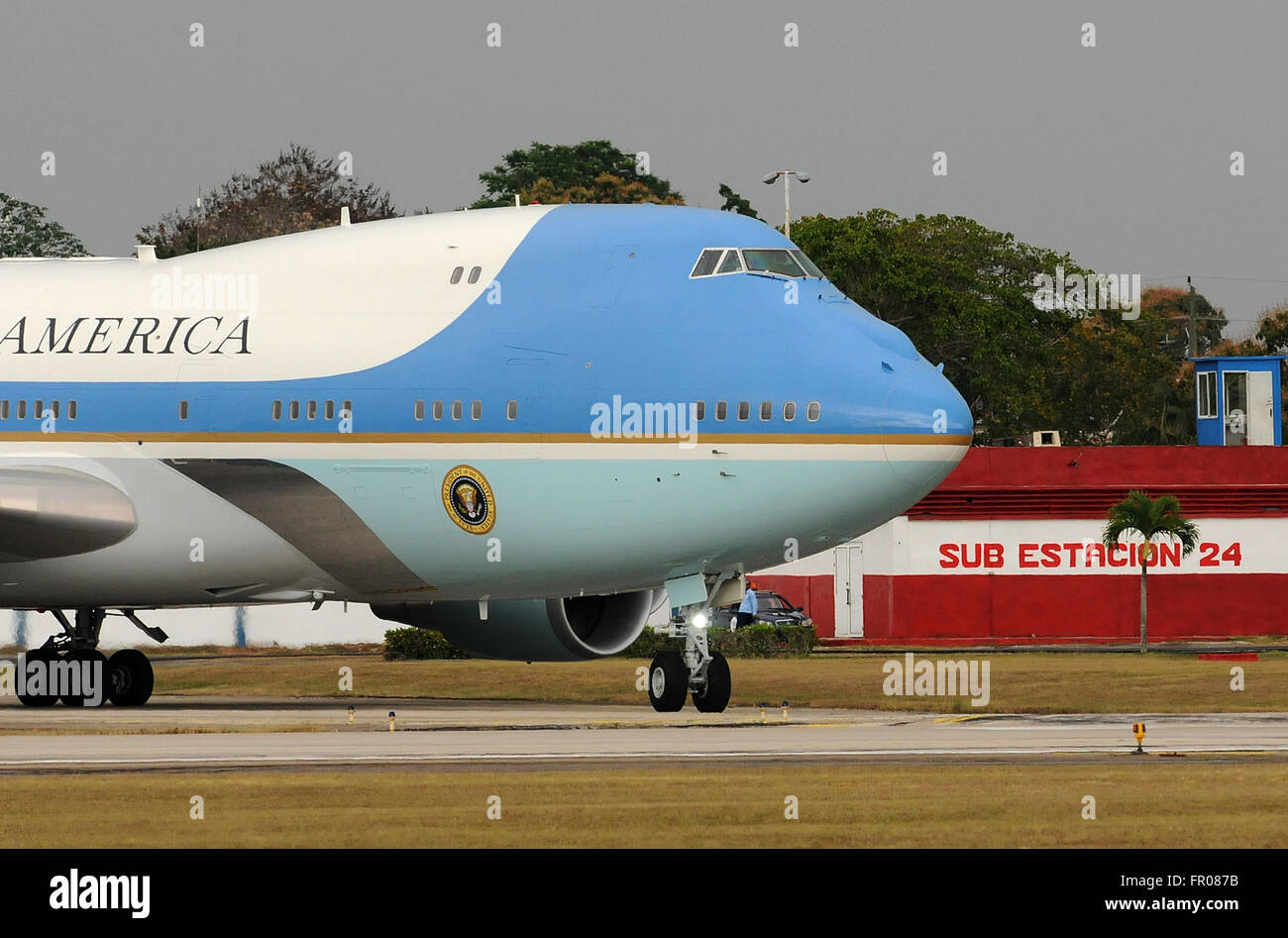 Havana, Cuba. 20th March, 2016. - Air Force One carrying U.S. President Barack Obama, First Lady Michelle Obama, - Stock Image