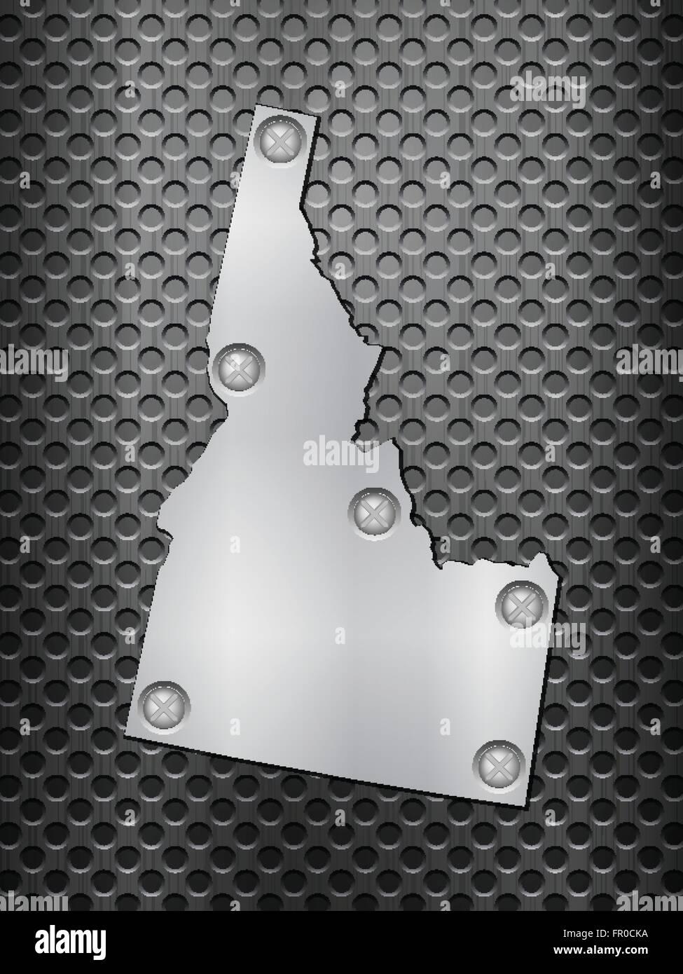 Idaho metal map on a black metal grid. - Stock Vector
