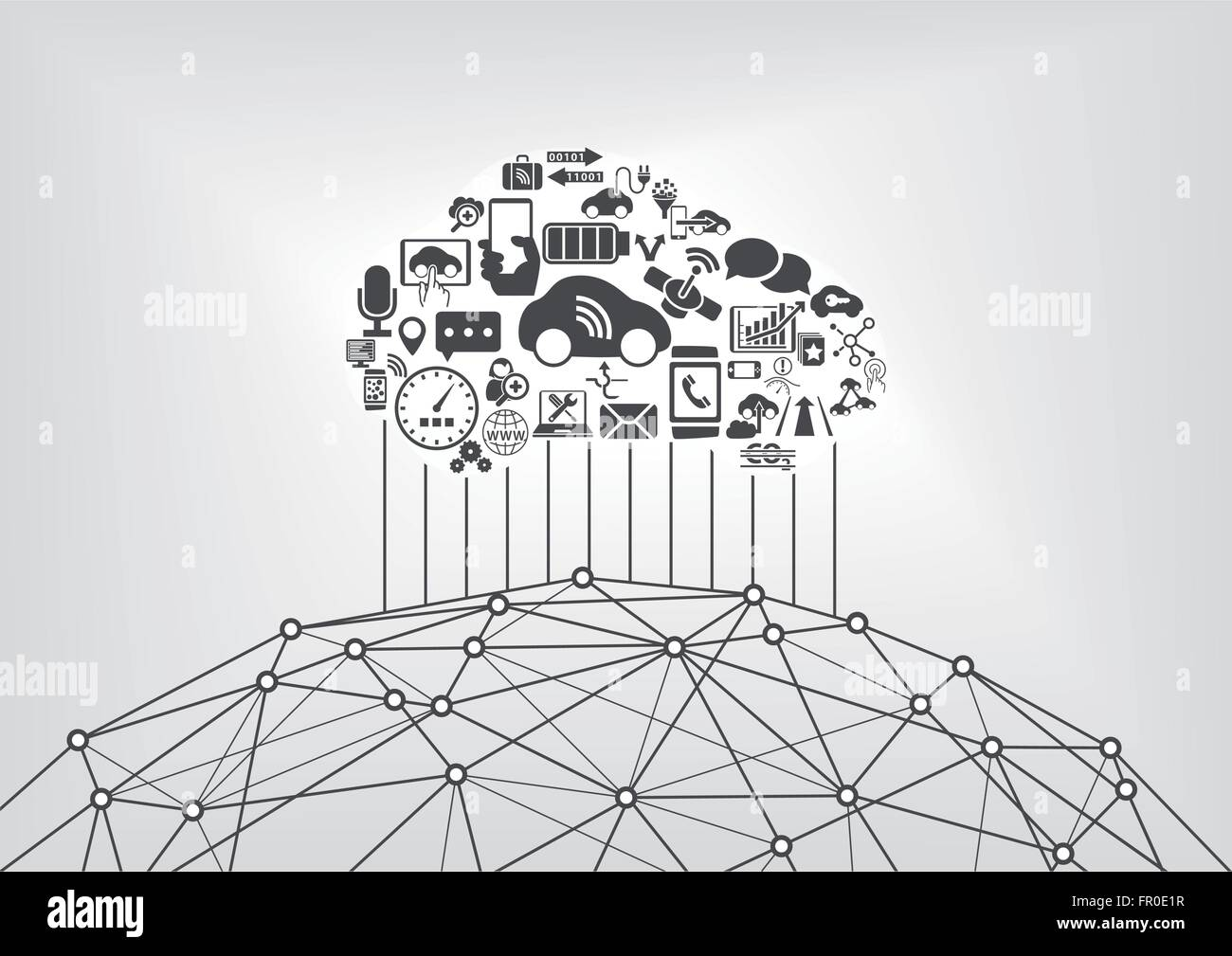 Connected car and internet of things infographic concept. Driverless cars connected to the world wide web. - Stock Image