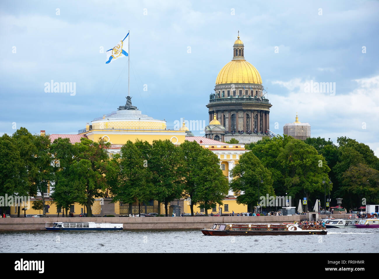 Saint-Petersburg, Admiralty embankment, the Admiralty building and St. Isaac's Cathedral dome. - Stock Image
