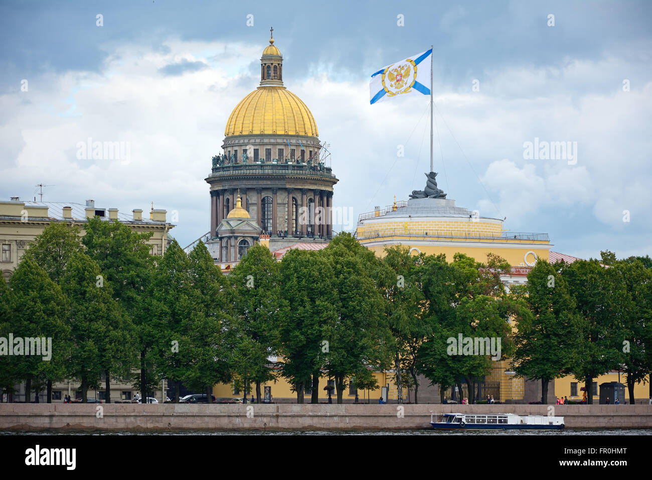 Saint-Petersburg, Admiralty embankment, the Admiralty building and St. Isaac's Cathedral dome. Stock Photo