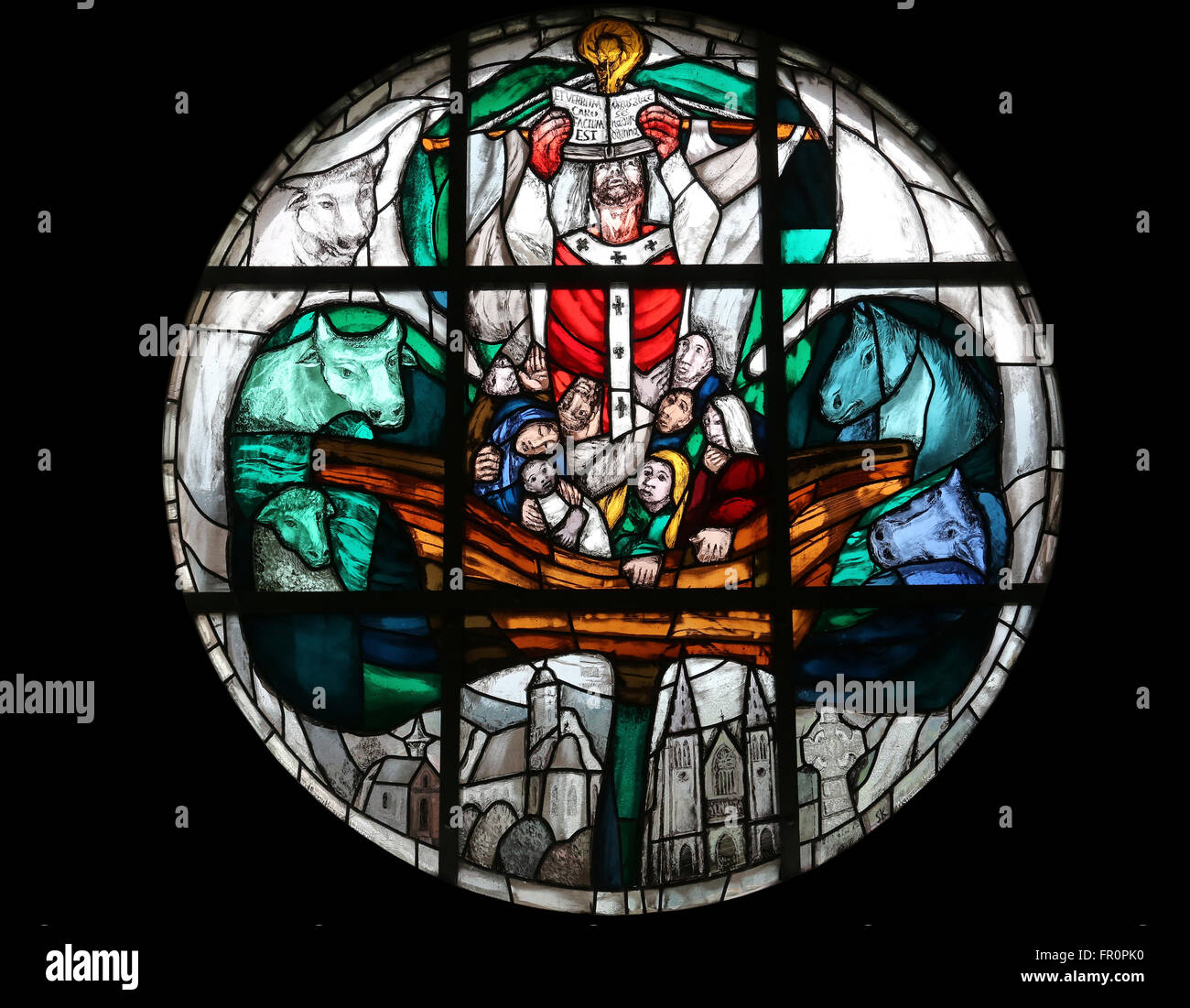 St. Patrick, stained-glass window in the parish church of St Patrick, work of painter Sieger Koder in Eggenrot, Stock Photo