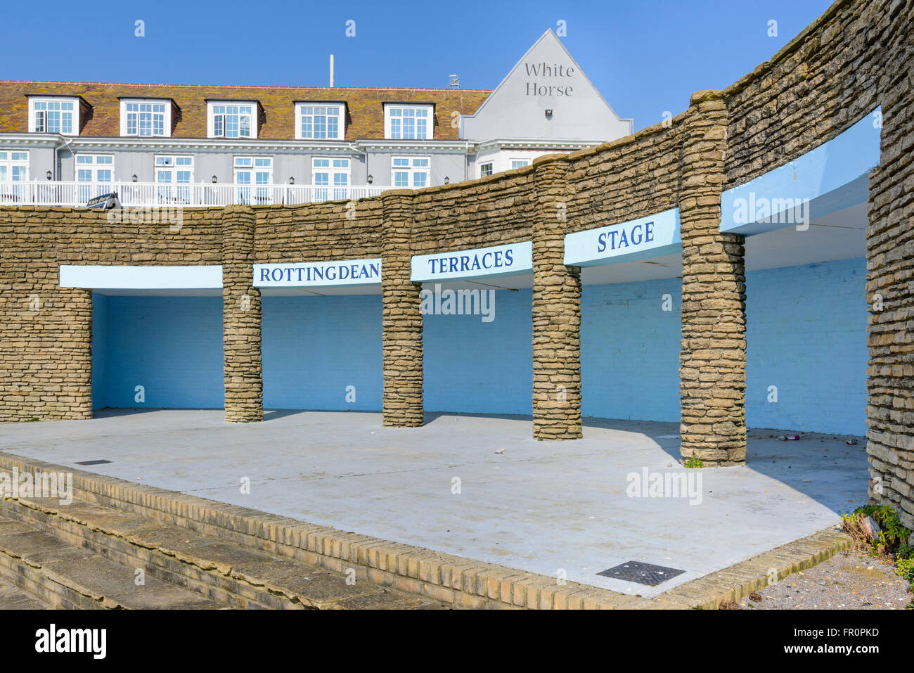 Rottingdean Terraces Stage in Rottingdean, East Sussex, England, UK. - Stock Image