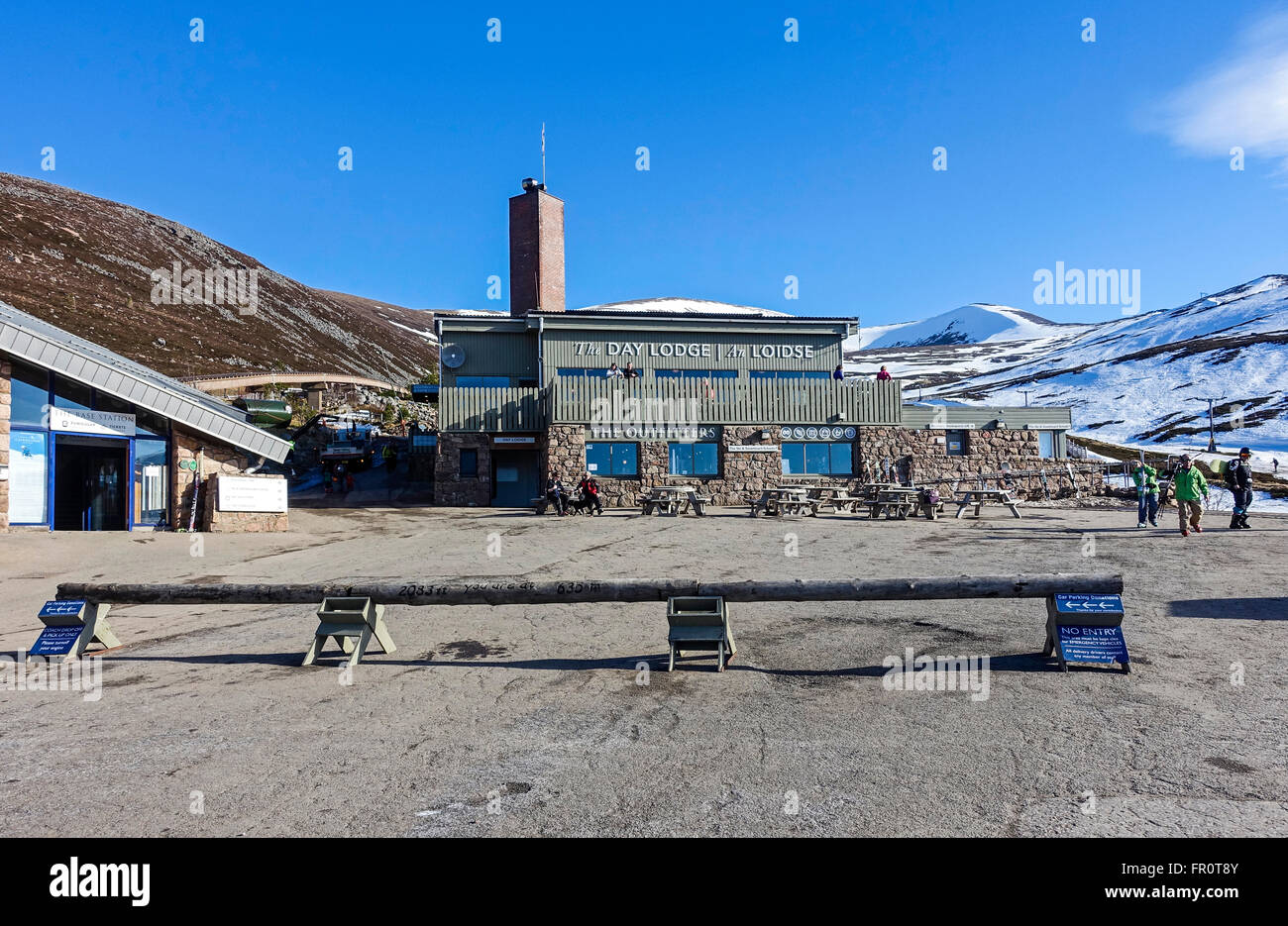 Cairngorm Mountain lower funicular railway installation on Cairn Gorm in Cairngorms National Park Scotland Stock Photo