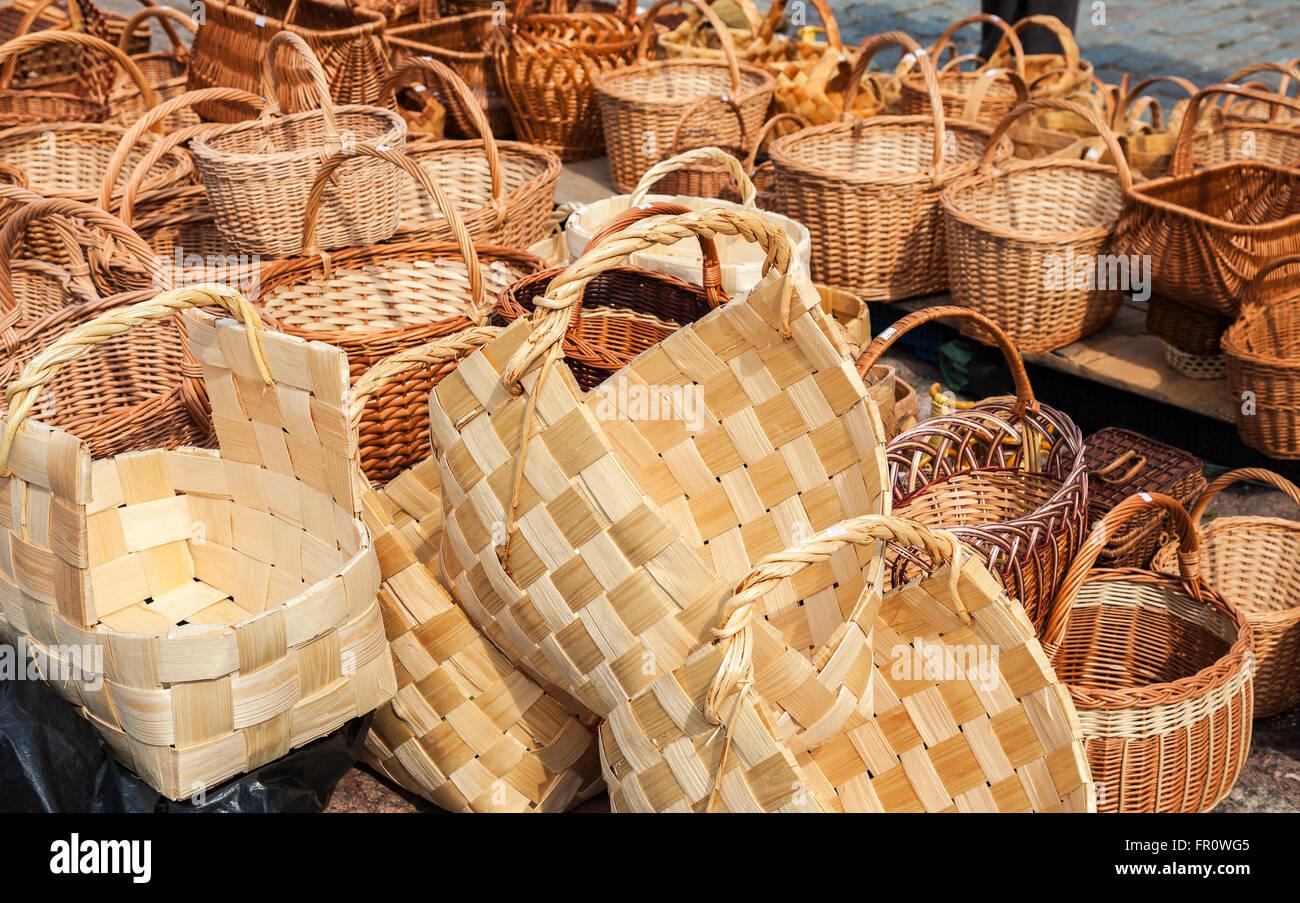Traditional Handmade Wicker Baskets Sale Stock Photos & Traditional ...