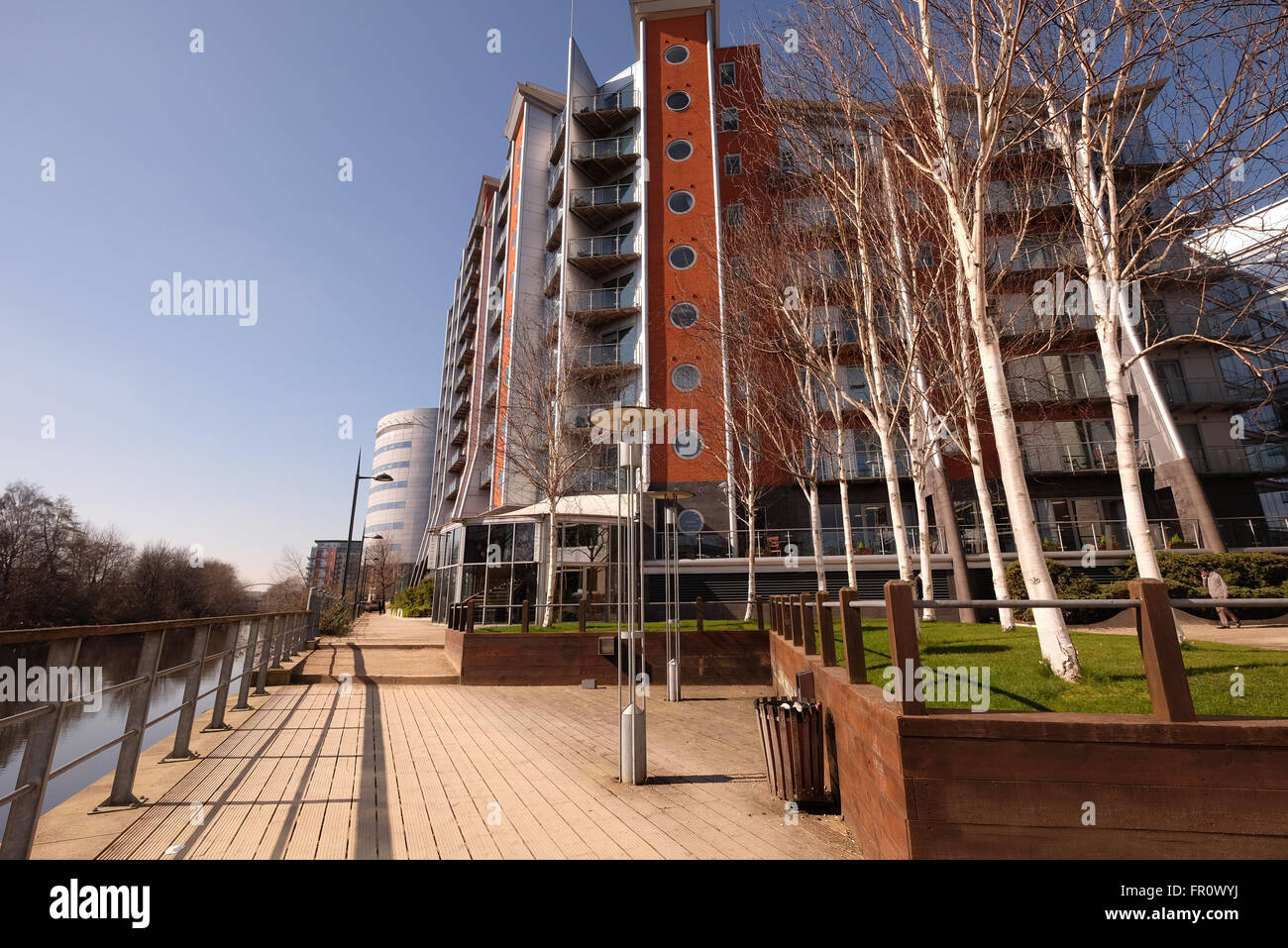 Leeds riverside, new apartments - Stock Image