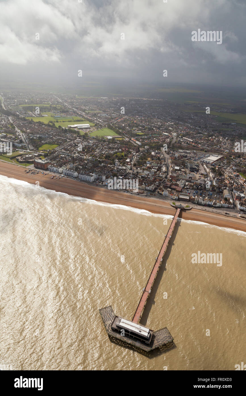 Deal Kent Aerial view with pier and sea - Stock Image