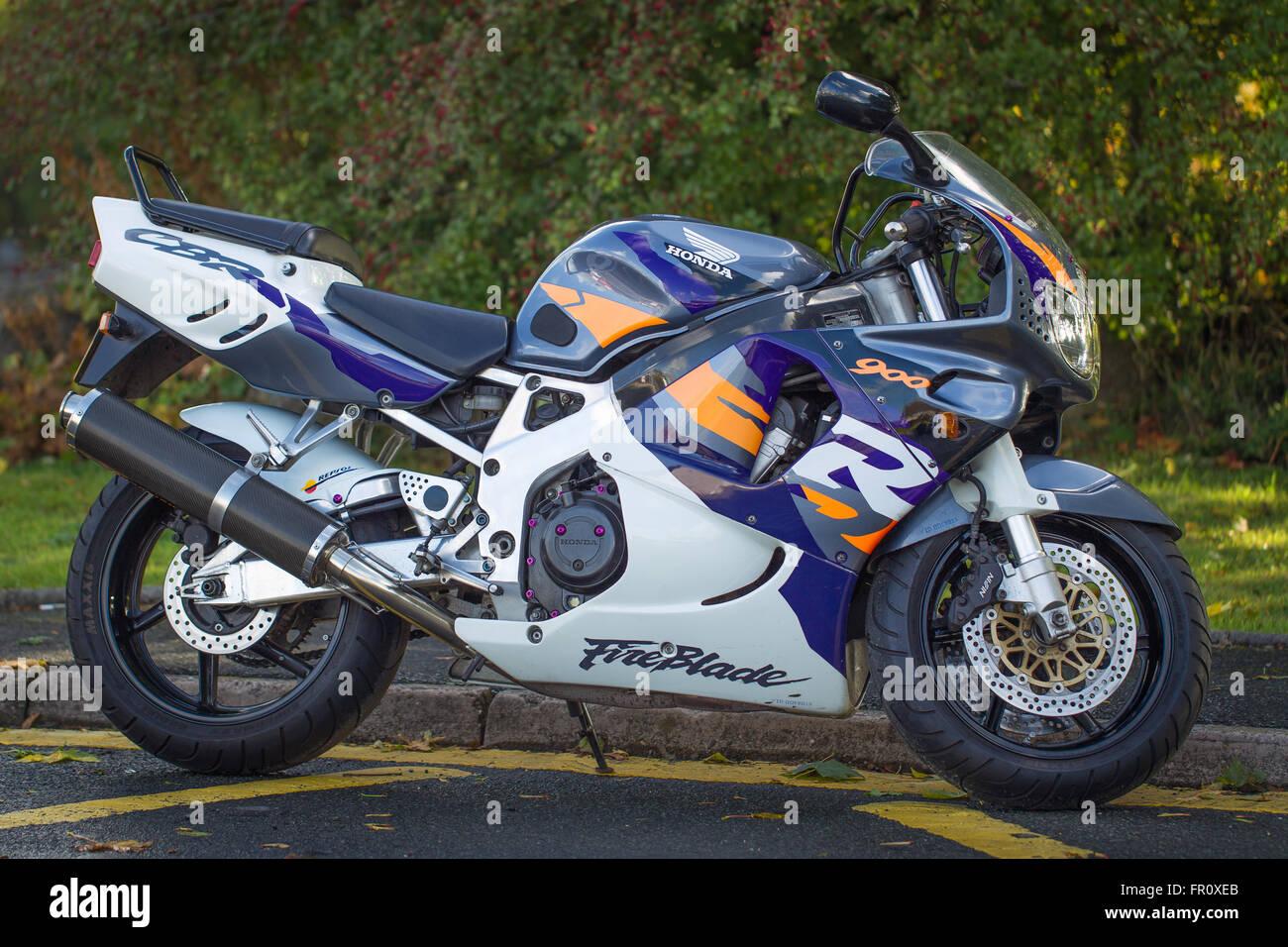 Fire blade  Honda motorcycle 900 RR . Color   White purple gray orange - Stock Image
