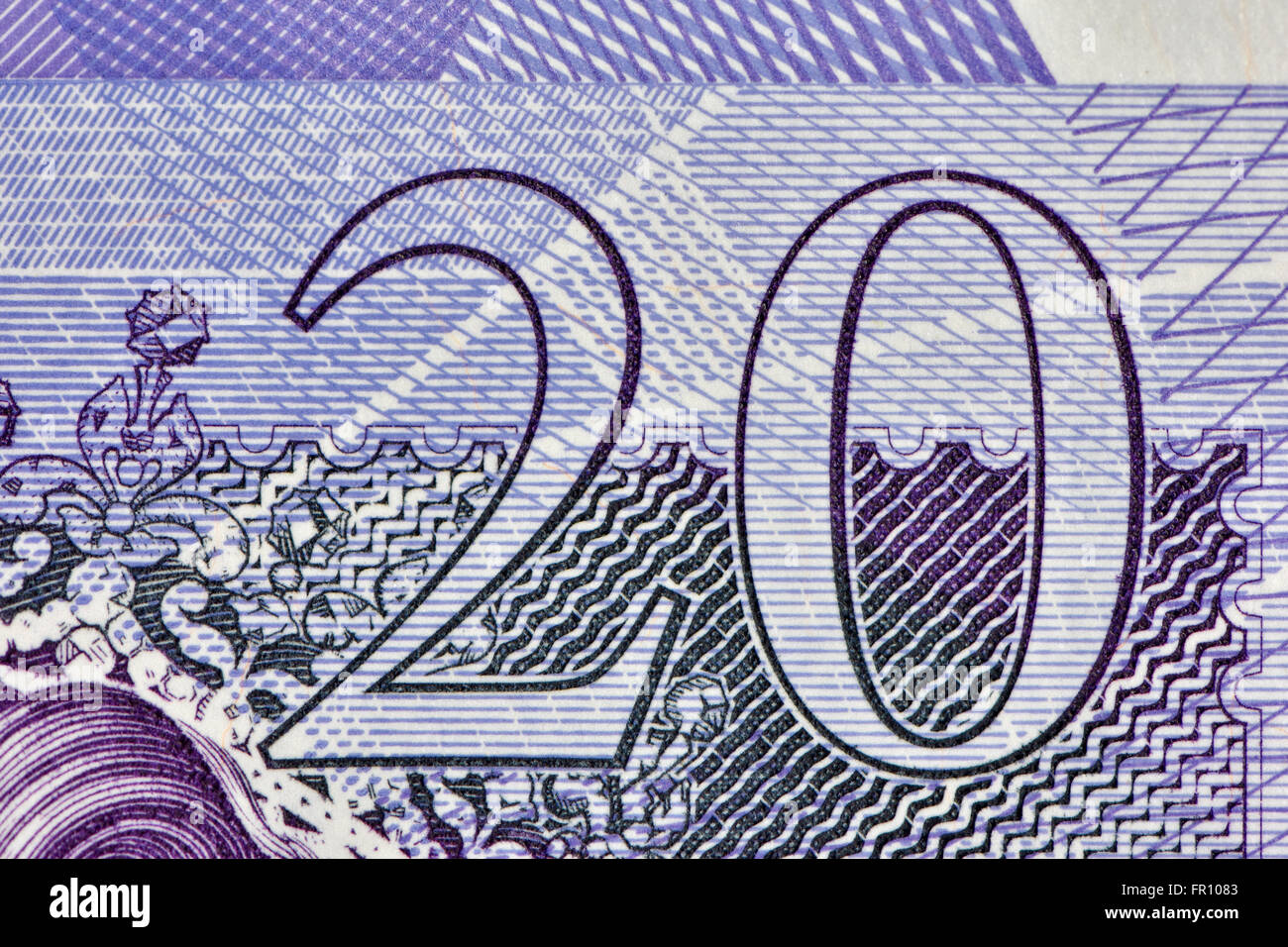 Close up of a Twenty pound bank note in British Sterling currency - Stock Image