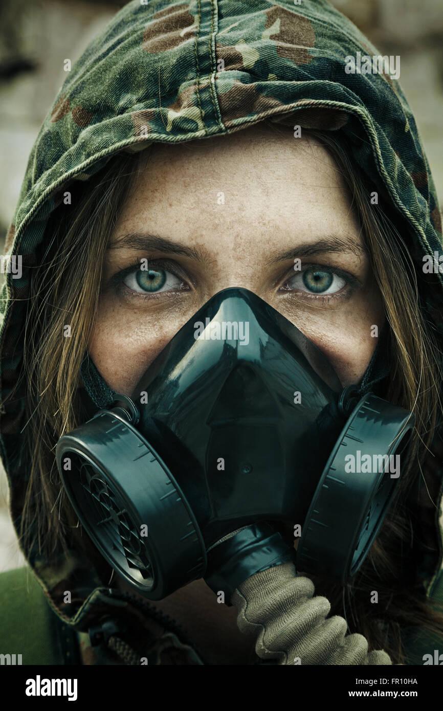 Post apocalypse female survivor - Stock Image