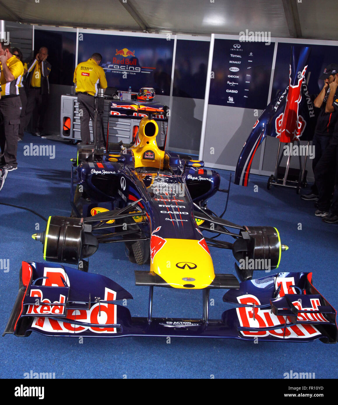 Red Bull F1 Pit Team Stock Photos
