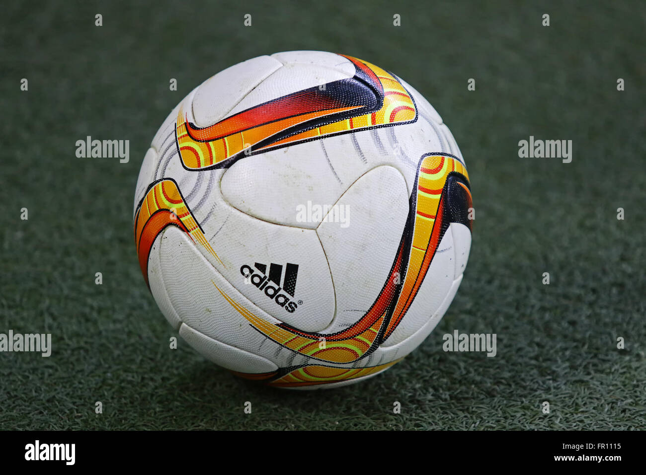 LVIV, UKRAINE - March 10, 2016: Official UEFA Europa League season ball on the grass during UEFA Europa League Round - Stock Image