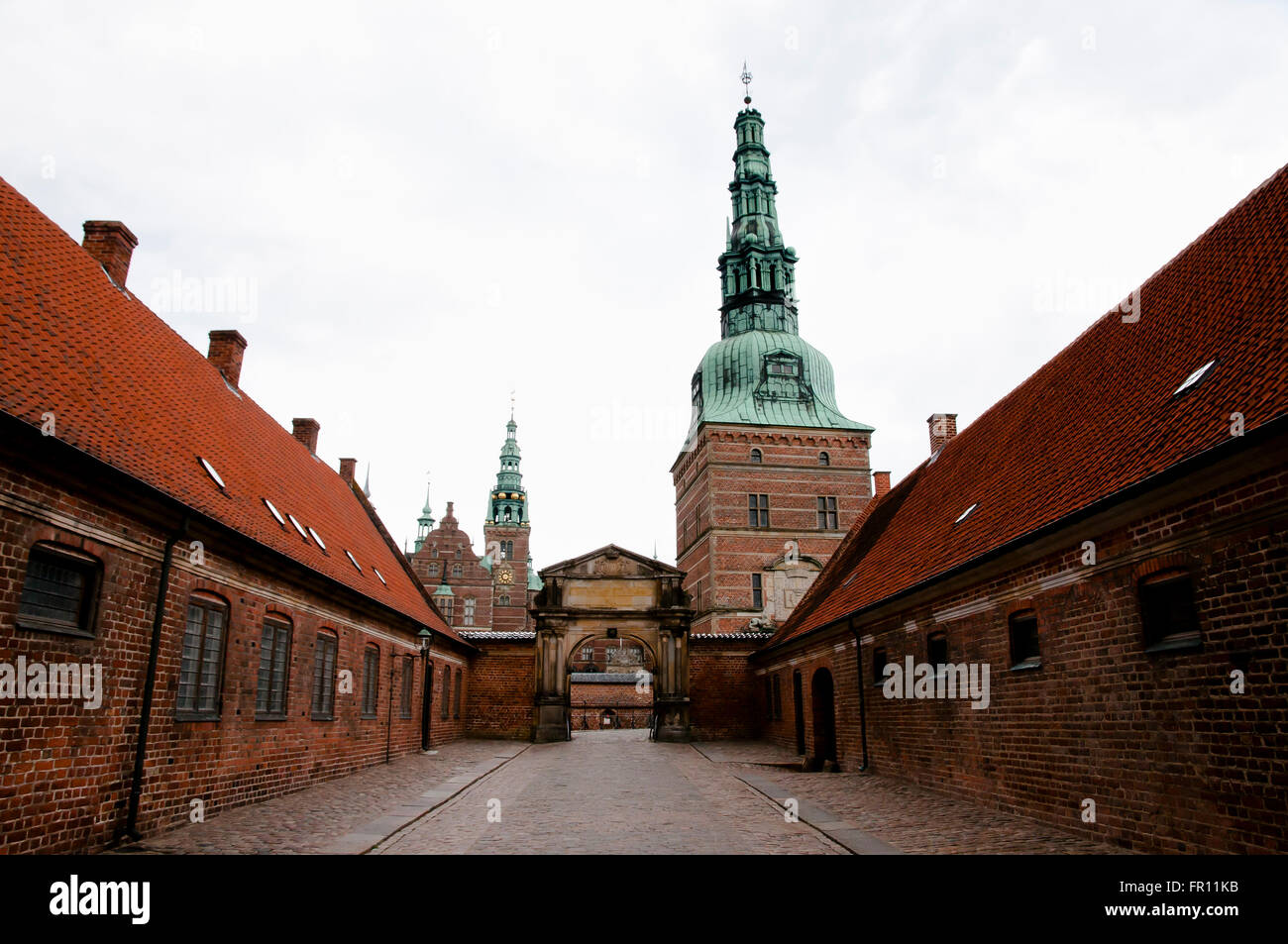 Entrance to Frederiksborg Castle - Hillerod - Denmark - Stock Image