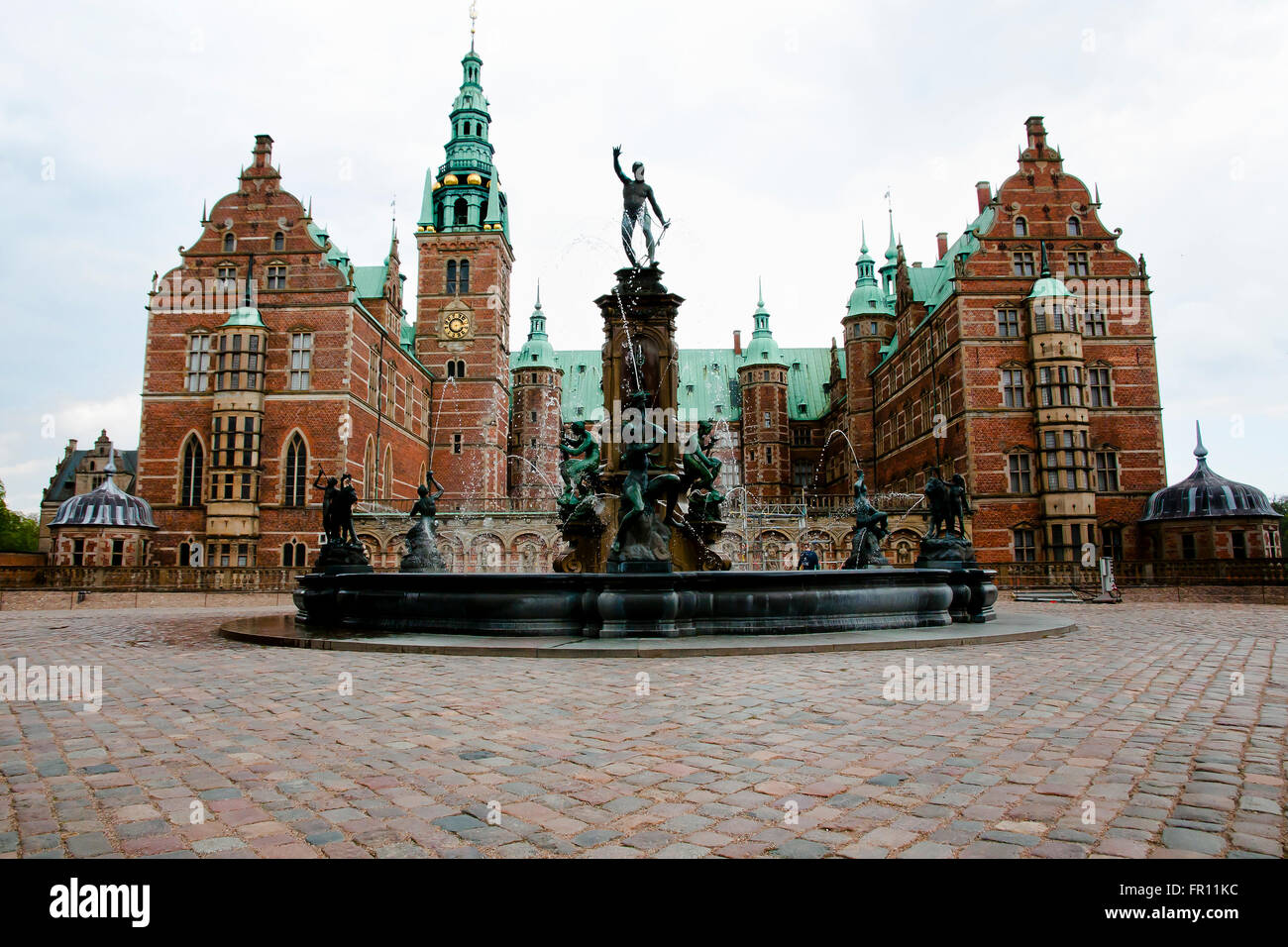 Fountain of Frederiksborg Castle - Hillerod - Denmark - Stock Image