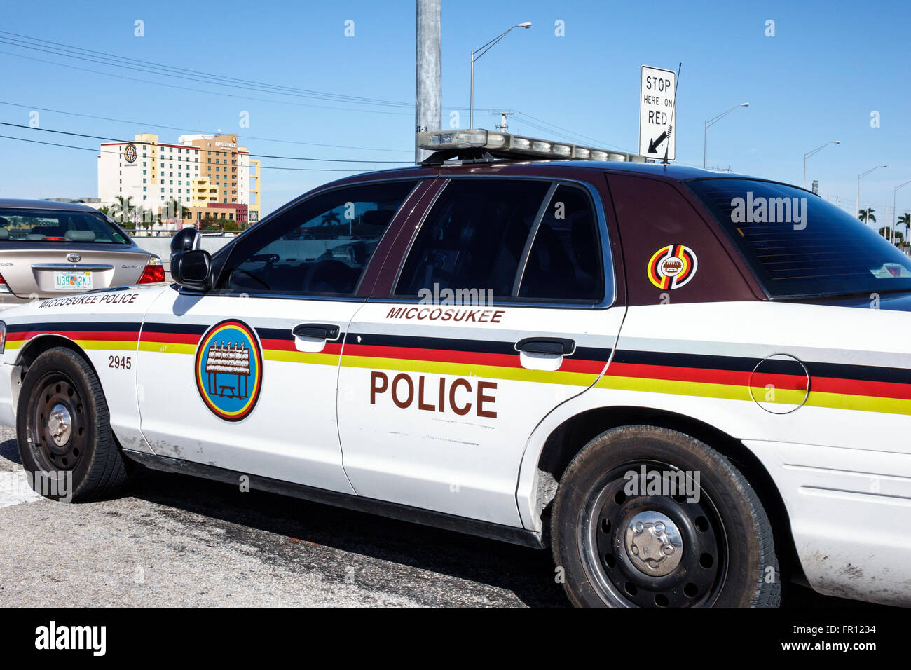 Florida FL Everglades Tamiami Trail Miccosukee Tribe Reservation Native American Indian police car vehicle Stock Photo