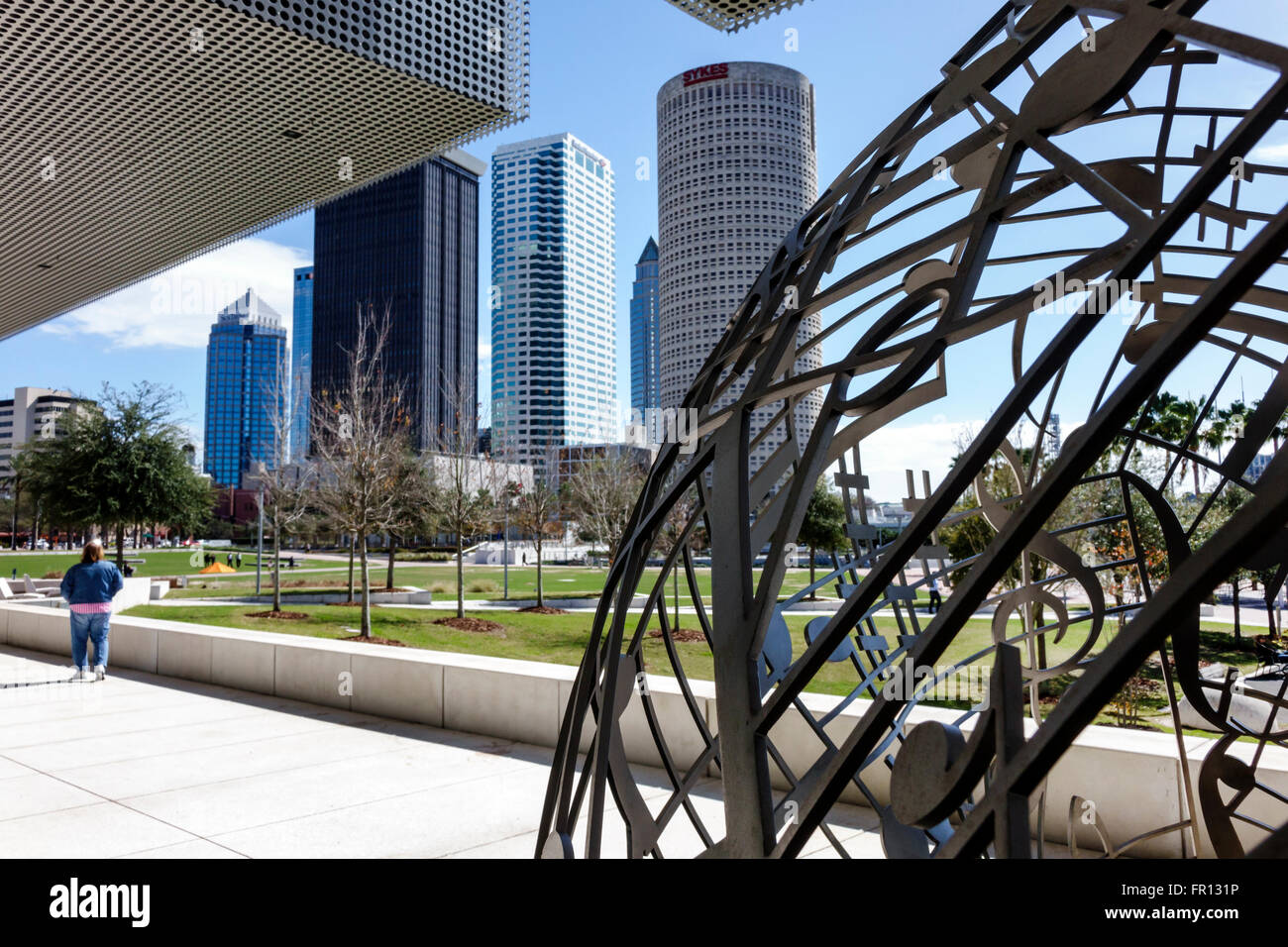 Florida, South, FL, Tampa, Waterfront Arts District, Tampa Museum of Art, Curtis Hixon Waterfront Park, city skyline cityscape, skyscrapers, buildings Stock Photo