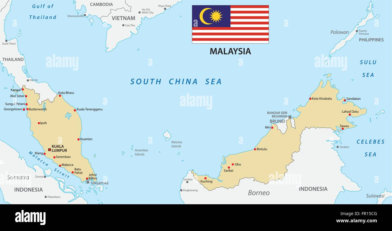 malaysia map with flag - Stock Image