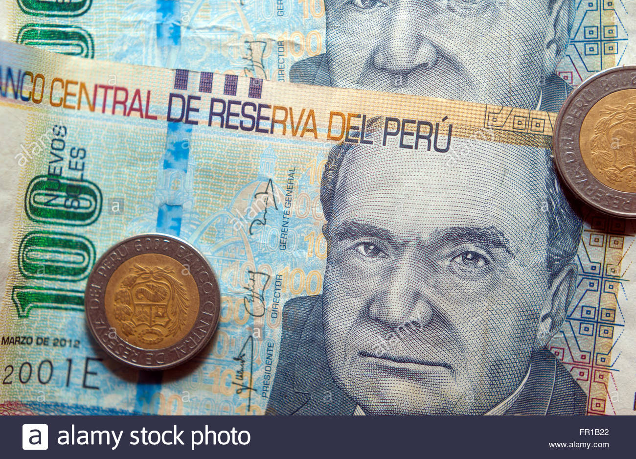 Peruvian Soles (Peru sol) currency notes and coins - Stock Image