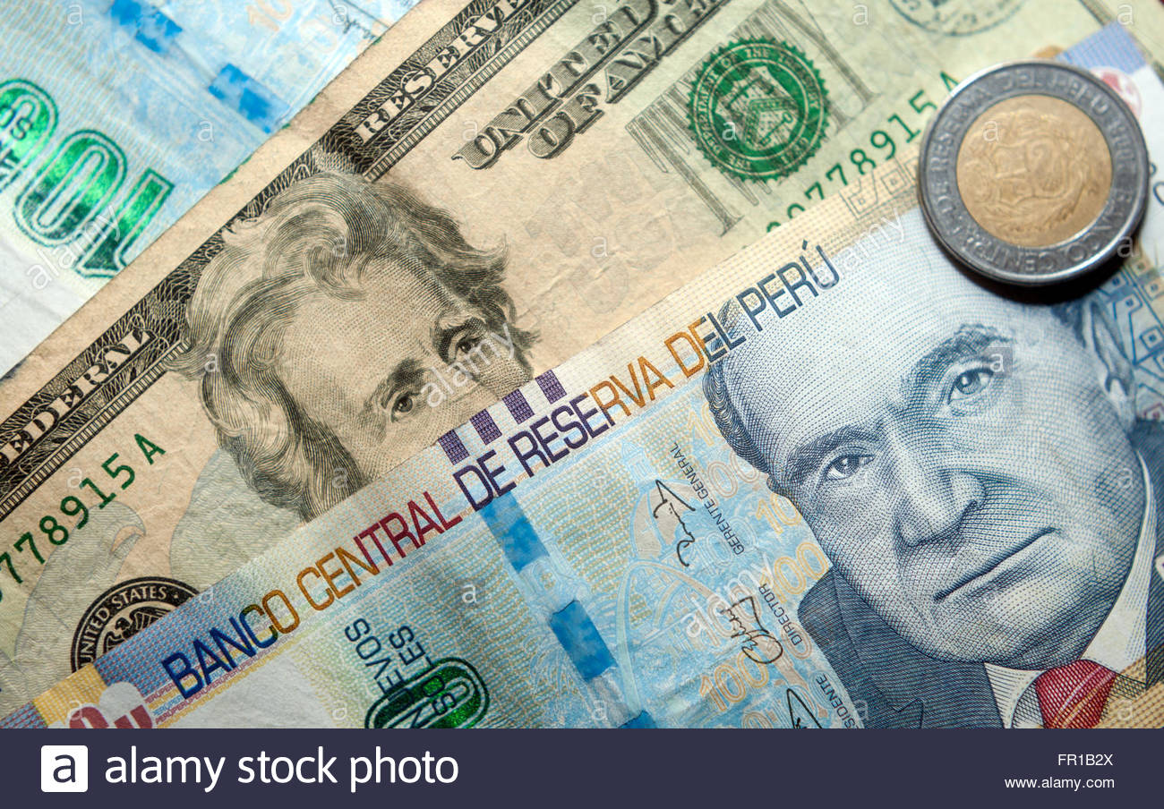 Peru currency stock photos peru currency stock images alamy peruvian soles peru sol and us dollars currency stock image altavistaventures Image collections