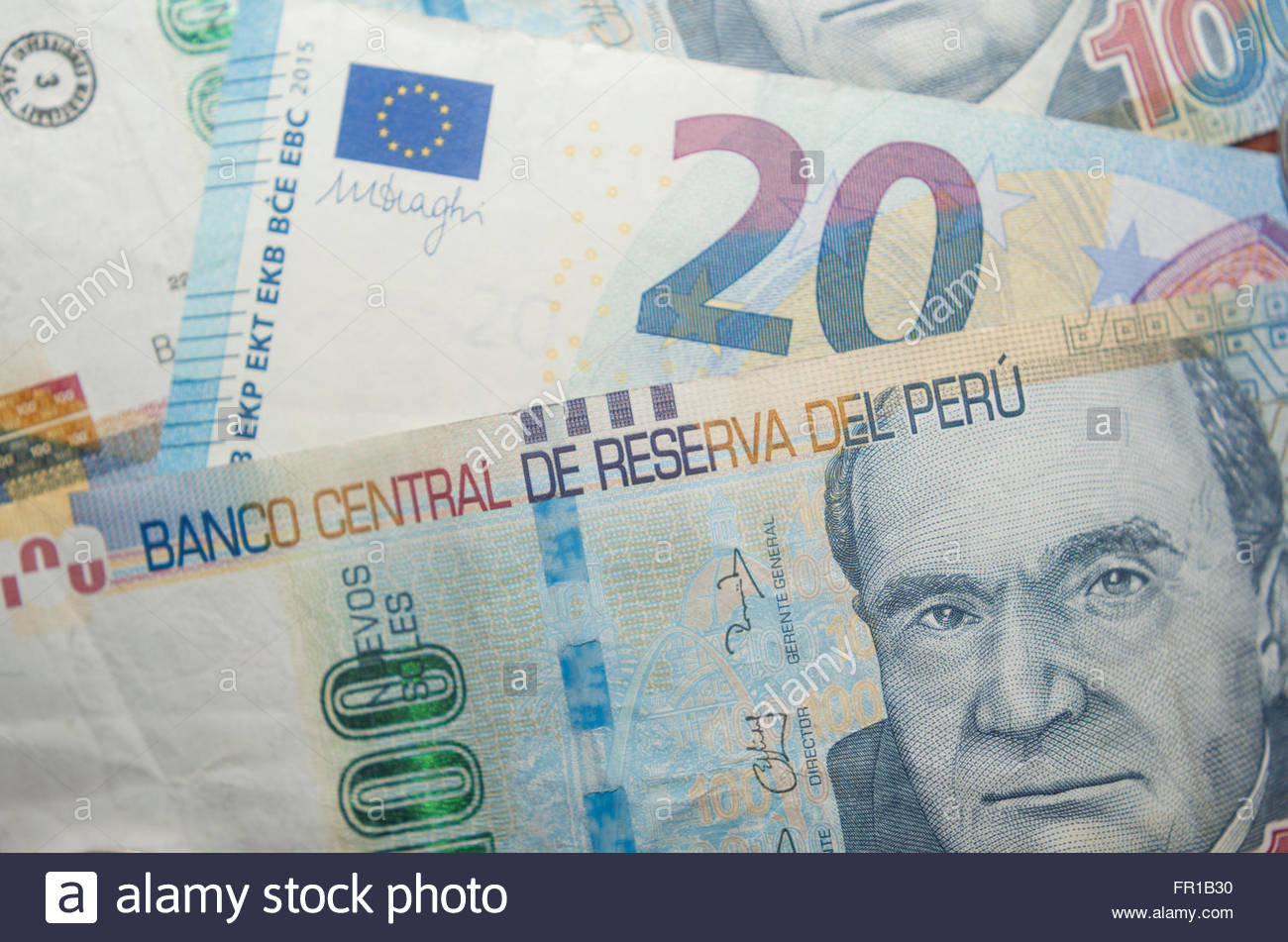 Peruvian Soles (Peru sol) and Euros currency - Stock Image
