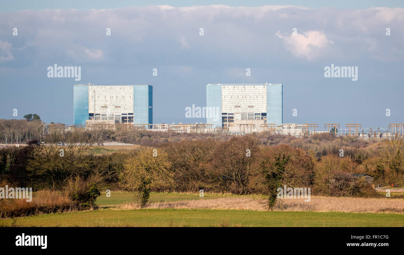 Somerset, UK - February 28, 2016: Hinkley Point Nuclear Power Station Somerset, UK. EDITORIAL USE ONLY - Stock Image