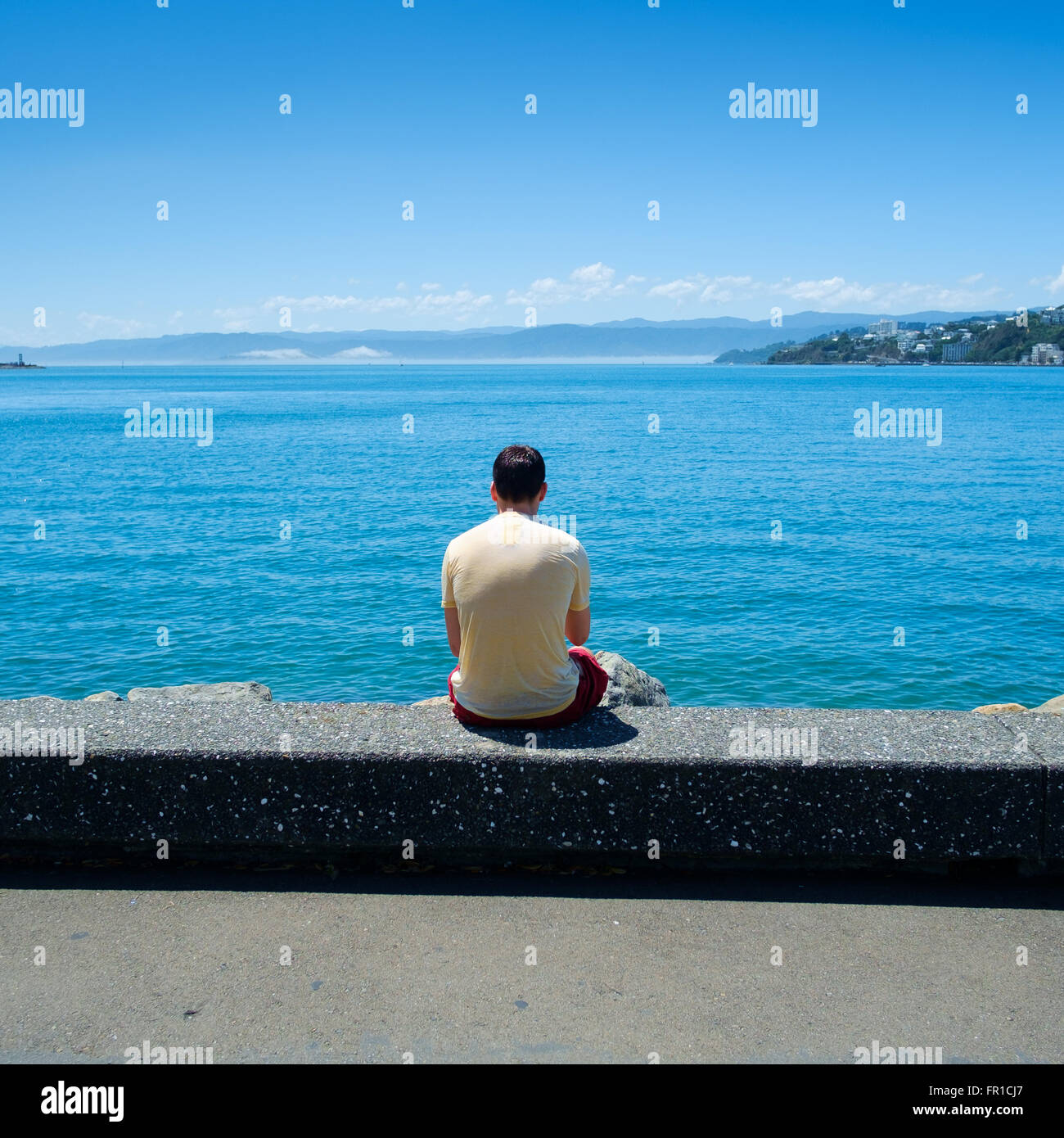 People on Wellington Harbour Front at the weekend - Stock Image