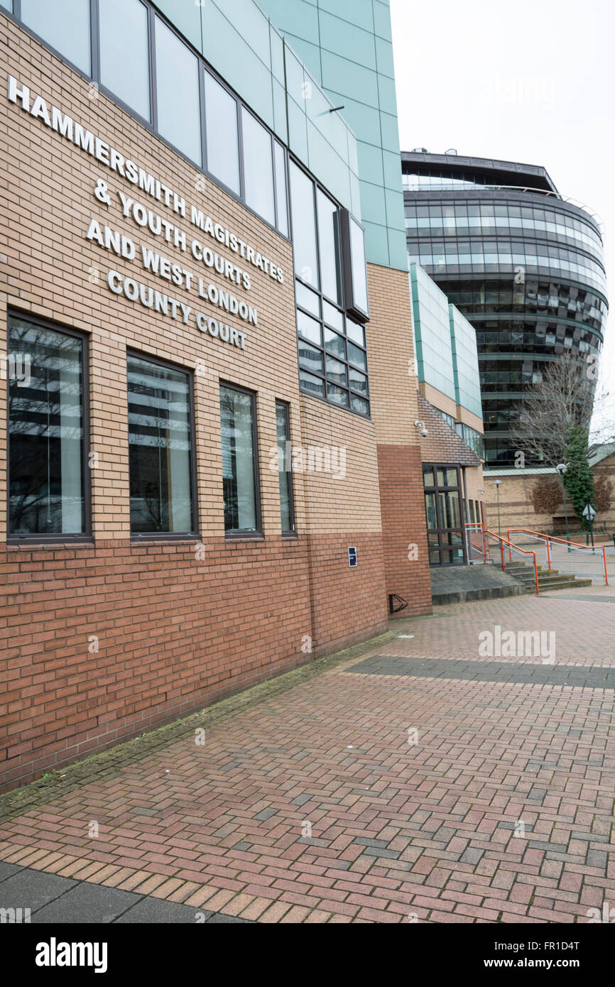 Exterior of Hammersmith Magistrates and Youth Court in SW London, UK - Stock Image