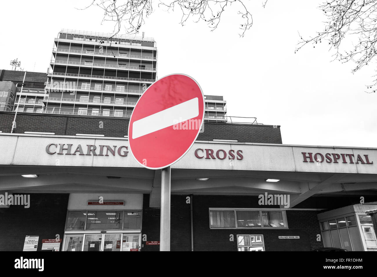 No Entry sign outside Charring Cross Hospital in SW London, UK - Stock Image