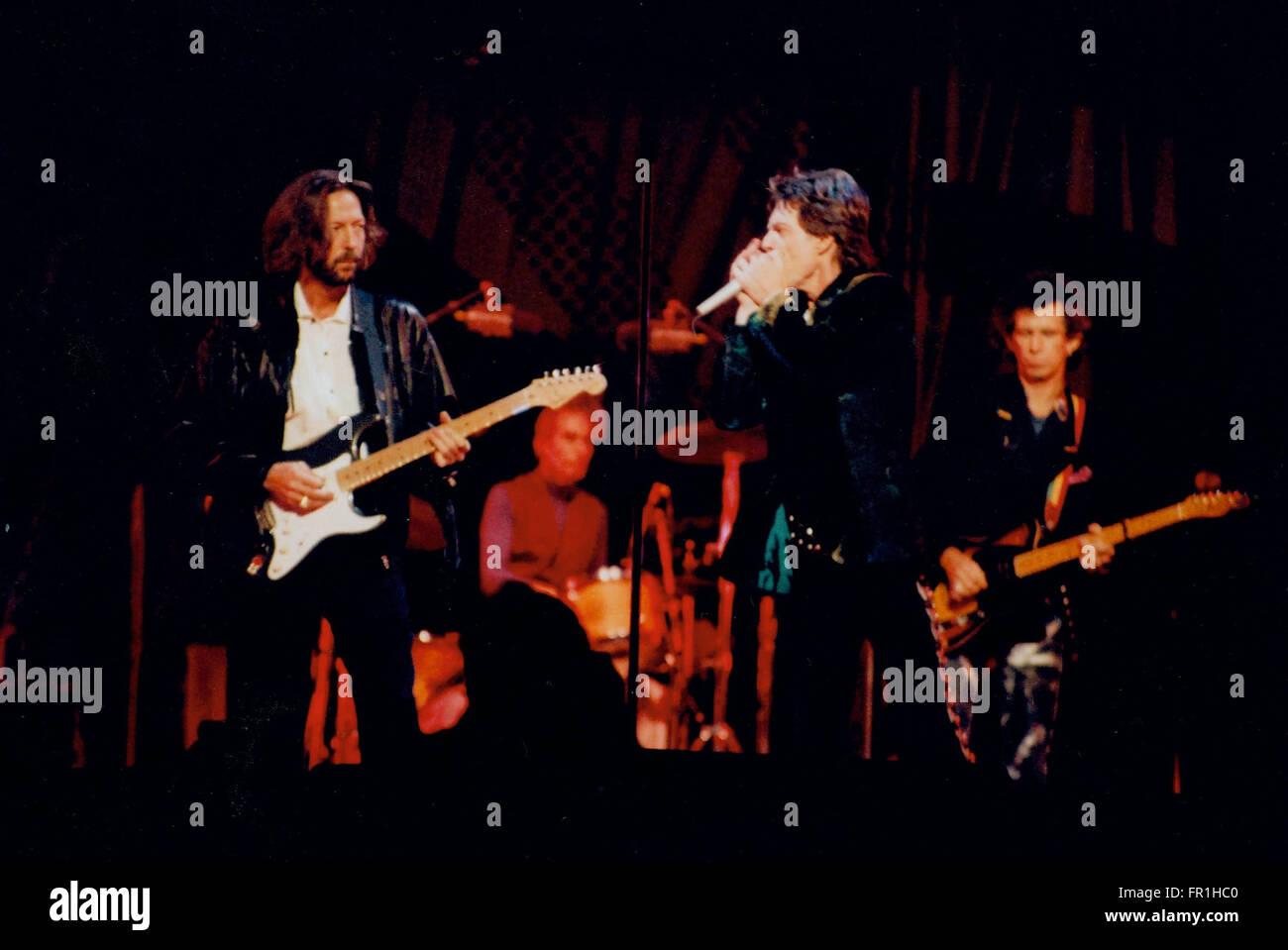 ROLLING STONES MICK JAGGER WITH ERIC CLAPTON                                        CONVENTION CENTER , ATLANTIC - Stock Image